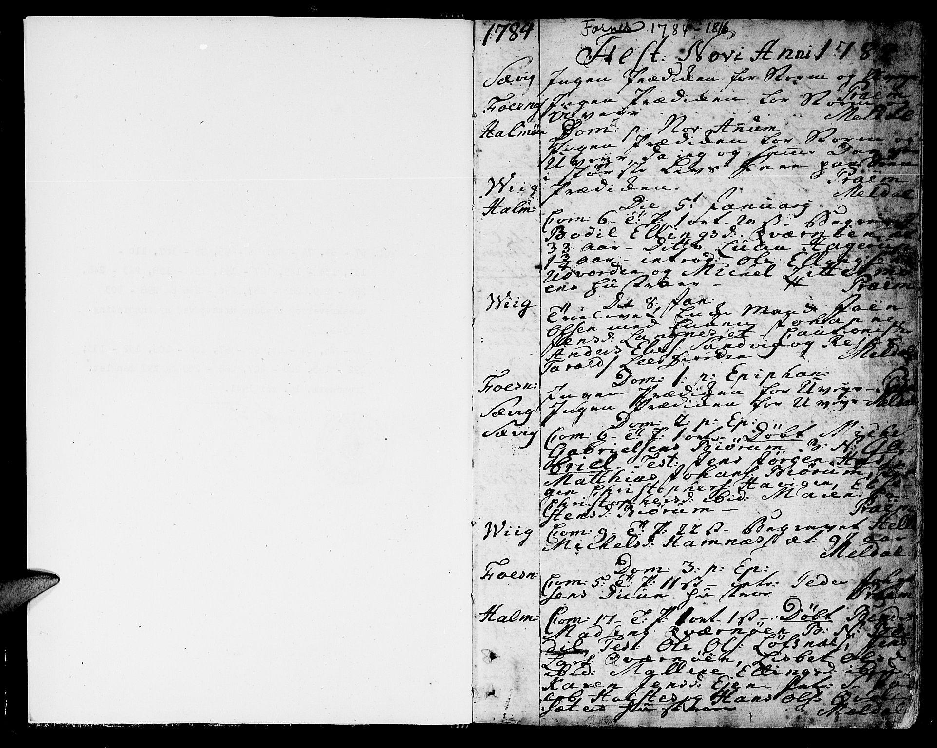 SAT, Ministerialprotokoller, klokkerbøker og fødselsregistre - Nord-Trøndelag, 773/L0608: Ministerialbok nr. 773A02, 1784-1816, s. 1
