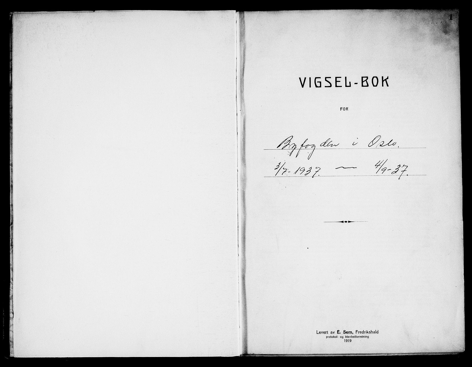 SAO, Oslo byfogd avd. I, L/Lb/Lbb/L0028: Notarialprotokoll, rekke II: Vigsler, 1937, s. 1a