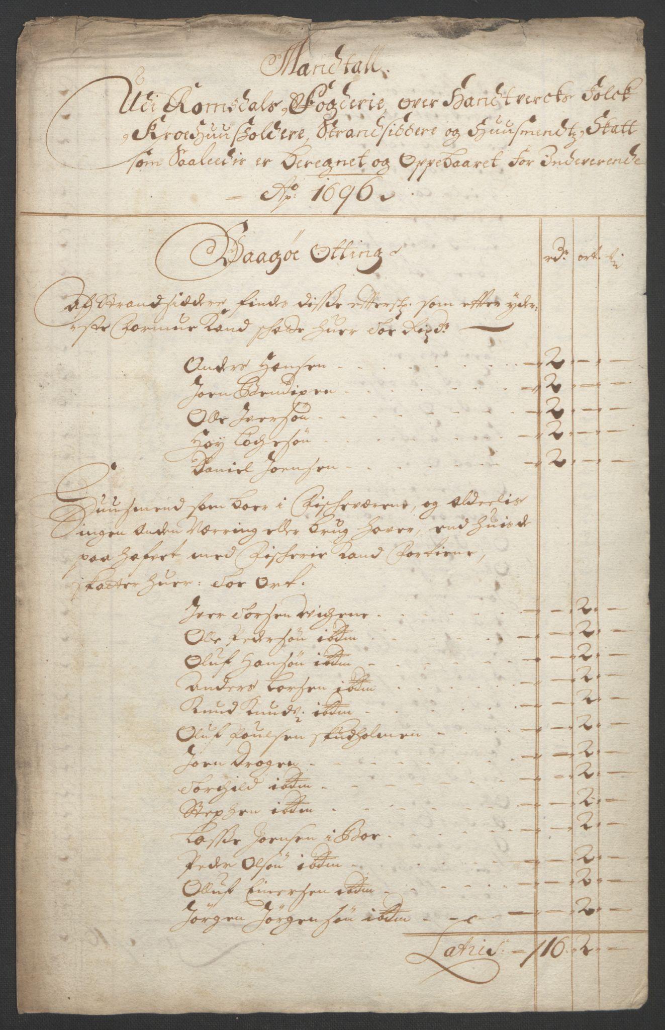 RA, Rentekammeret inntil 1814, Reviderte regnskaper, Fogderegnskap, R55/L3652: Fogderegnskap Romsdal, 1695-1696, s. 227
