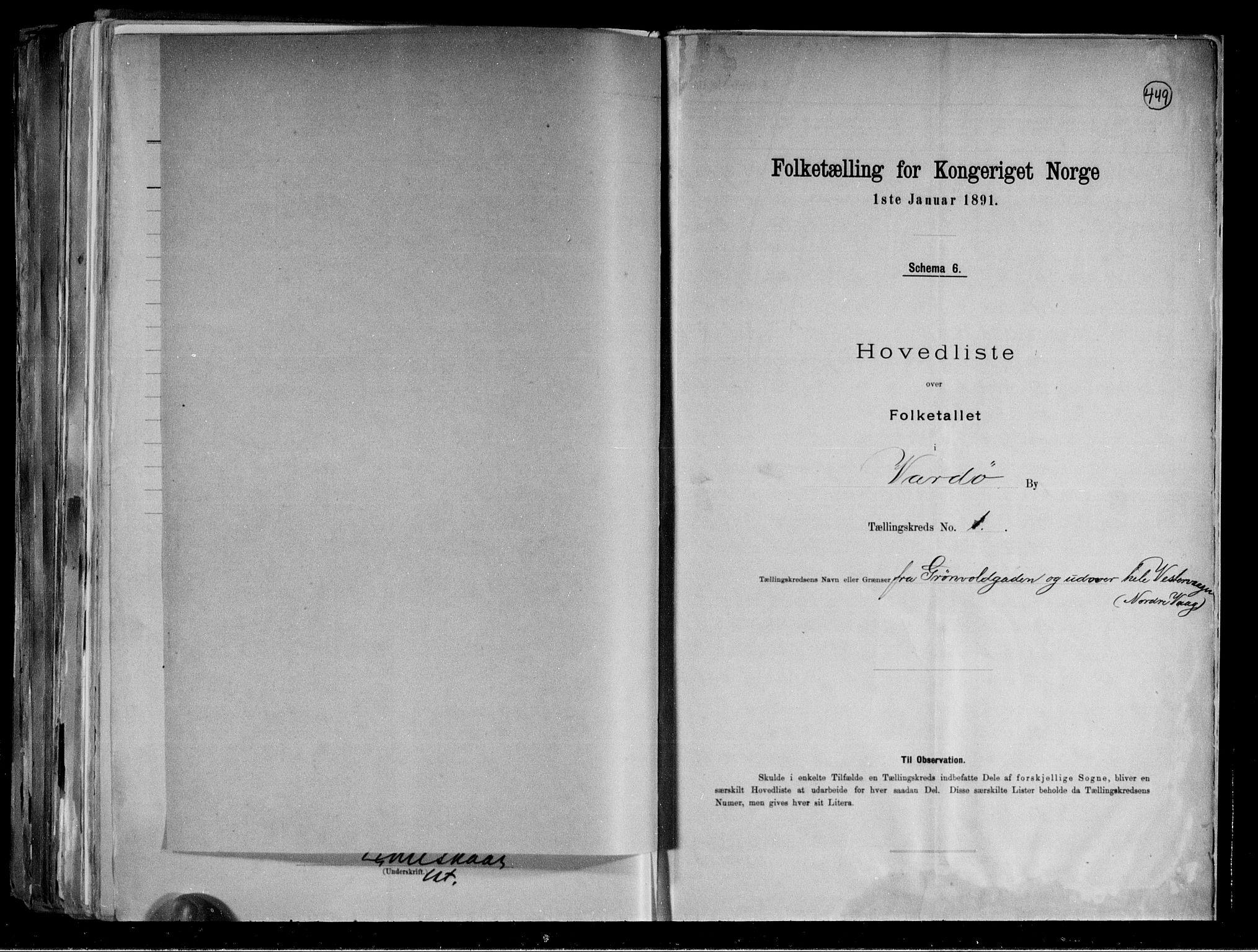 RA, Folketelling 1891 for 2002 Vardø kjøpstad, 1891, s. 5