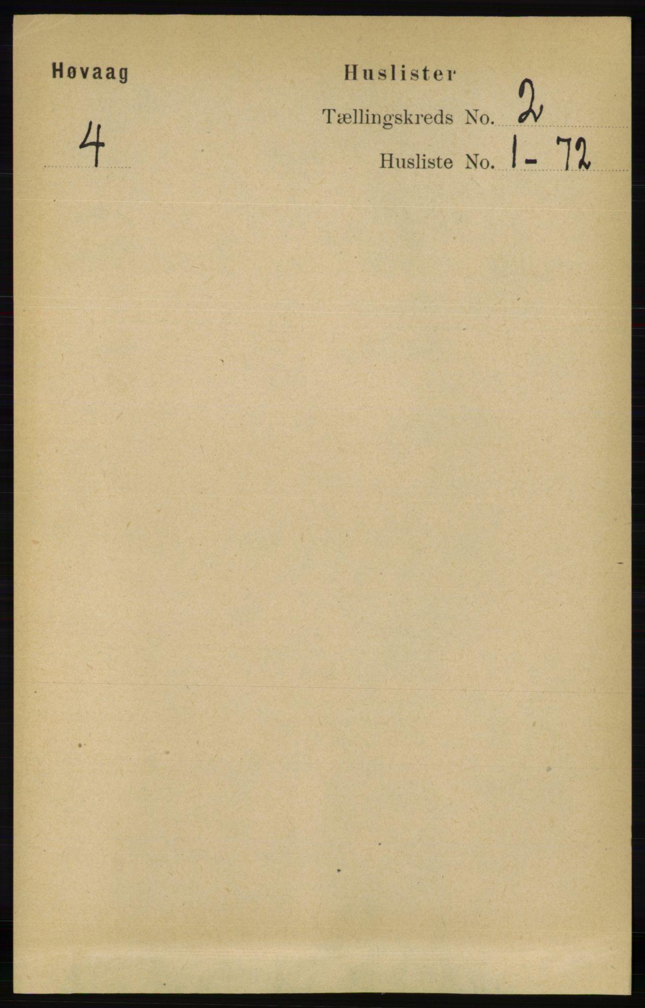 RA, Folketelling 1891 for 0927 Høvåg herred, 1891, s. 464
