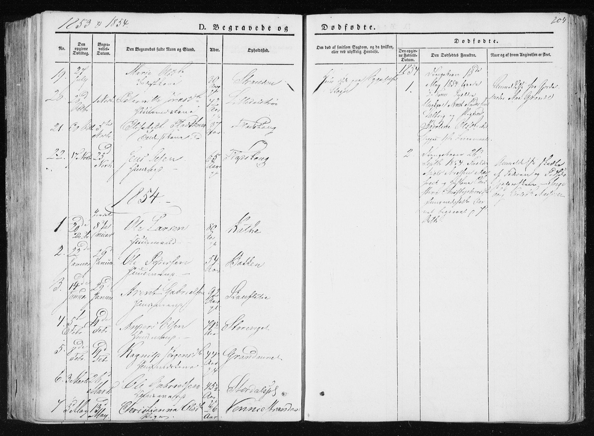 SAT, Ministerialprotokoller, klokkerbøker og fødselsregistre - Nord-Trøndelag, 733/L0323: Ministerialbok nr. 733A02, 1843-1870, s. 204