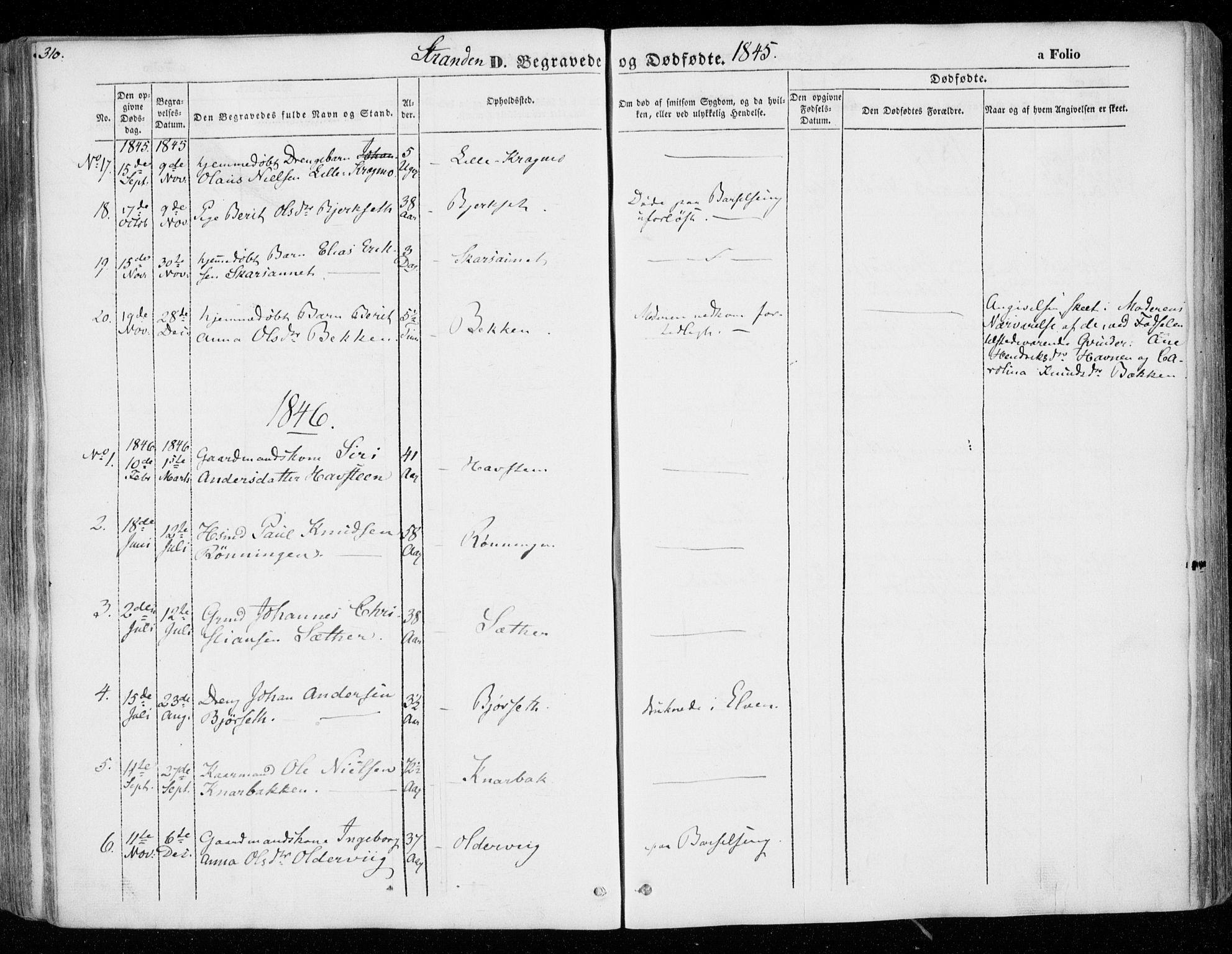 SAT, Ministerialprotokoller, klokkerbøker og fødselsregistre - Nord-Trøndelag, 701/L0007: Ministerialbok nr. 701A07 /2, 1842-1854, s. 310