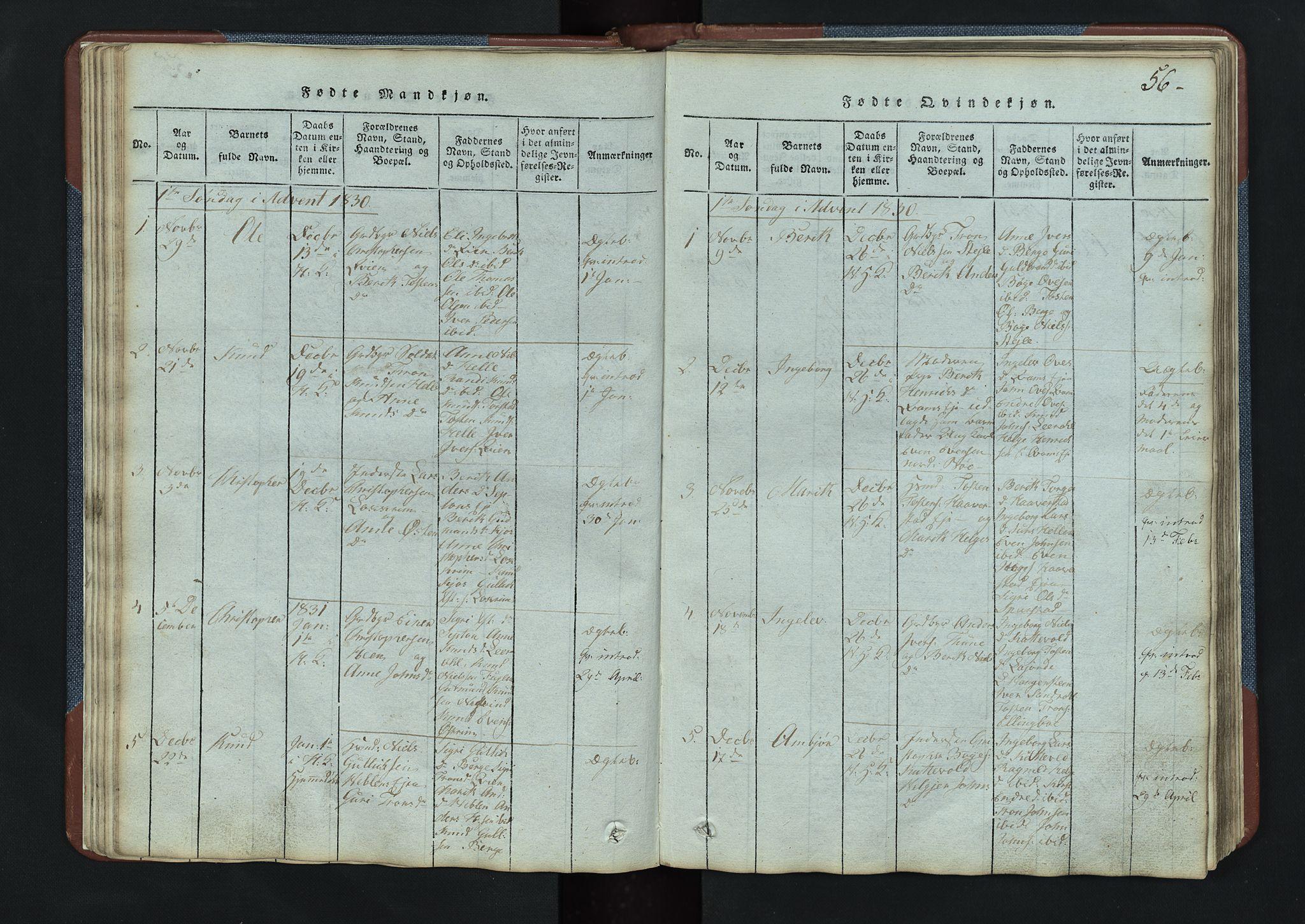 SAH, Vang prestekontor, Valdres, Klokkerbok nr. 3, 1814-1892, s. 56