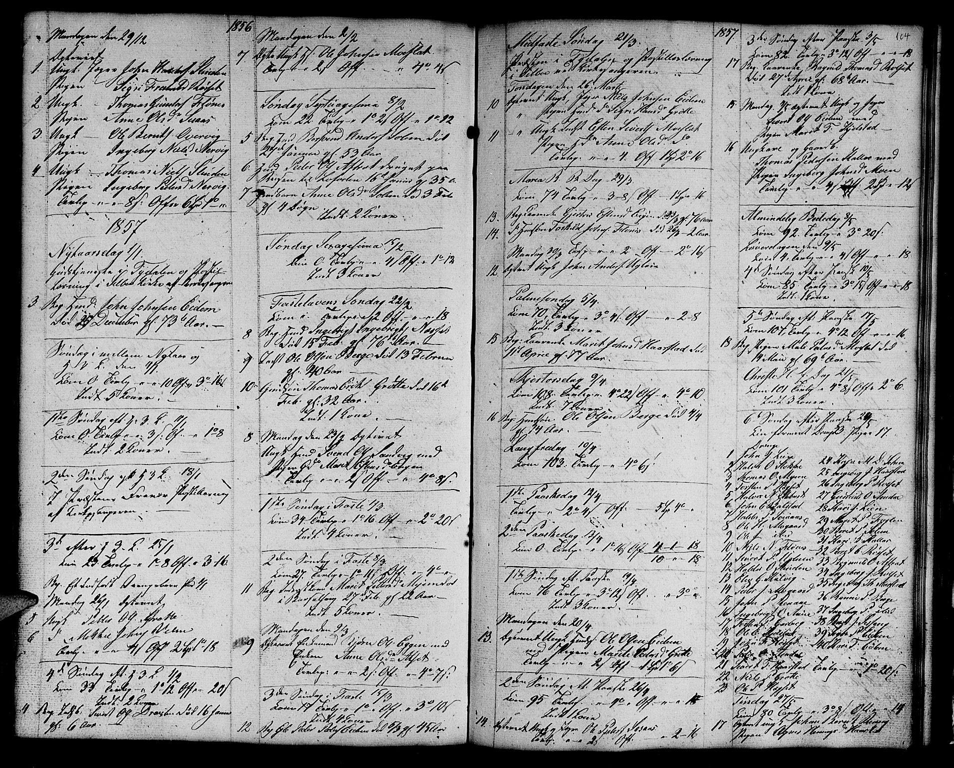 SAT, Ministerialprotokoller, klokkerbøker og fødselsregistre - Sør-Trøndelag, 695/L1154: Klokkerbok nr. 695C05, 1842-1858, s. 104