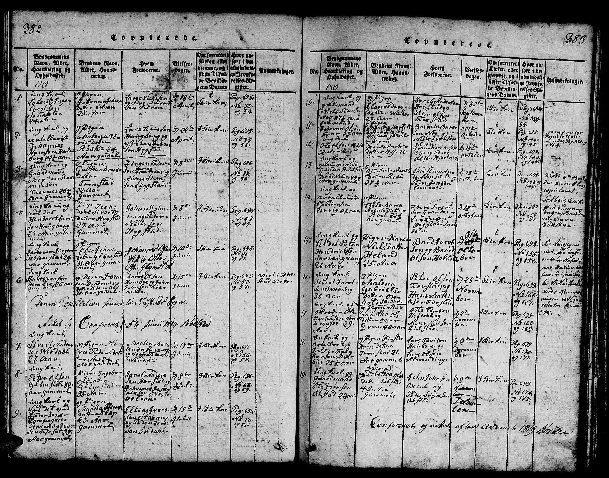 SAT, Ministerialprotokoller, klokkerbøker og fødselsregistre - Nord-Trøndelag, 730/L0298: Klokkerbok nr. 730C01, 1816-1849, s. 382-383