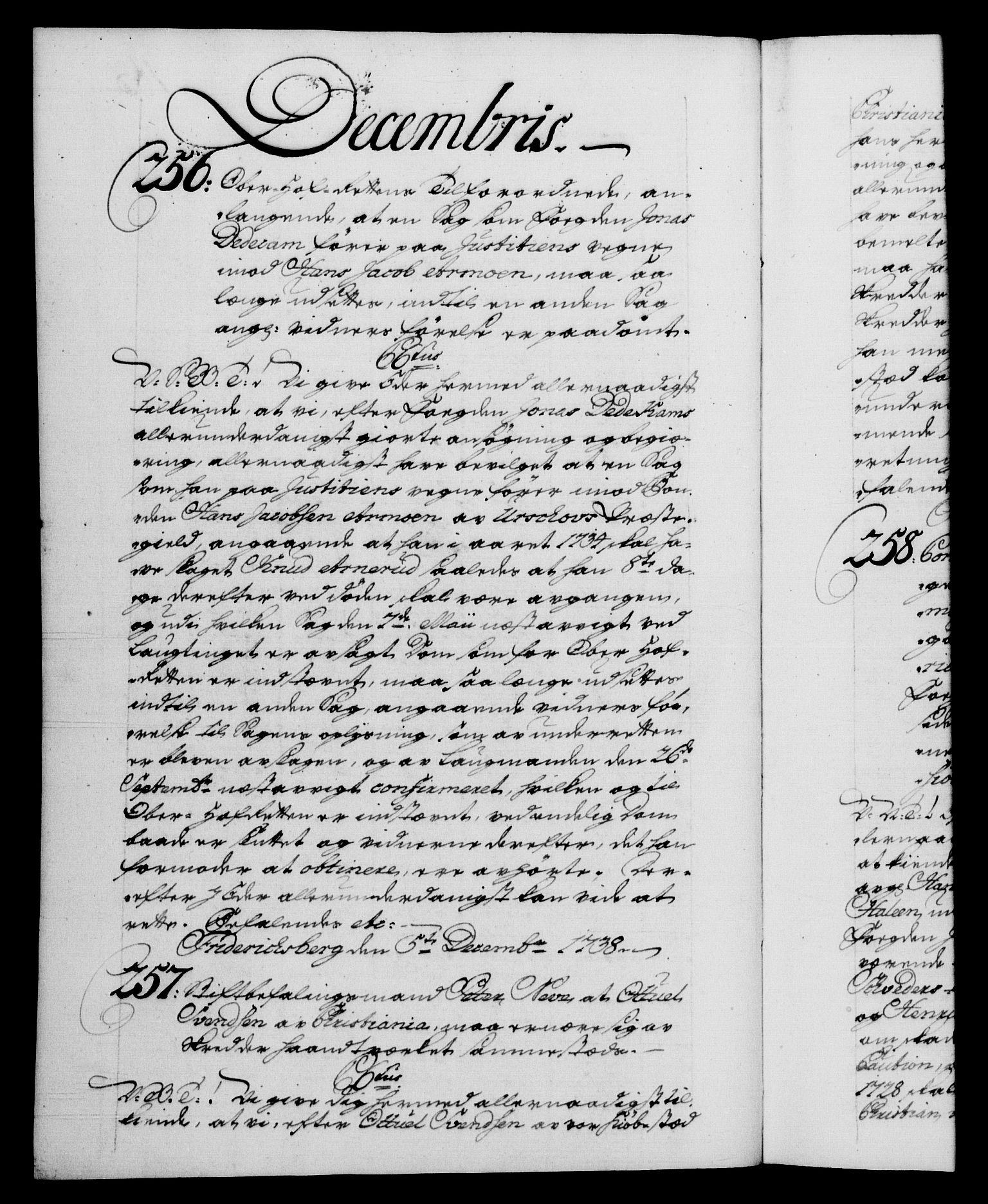 RA, Danske Kanselli 1572-1799, F/Fc/Fca/Fcab/L0028: Norske tegnelser, 1738-1740, s. 183b