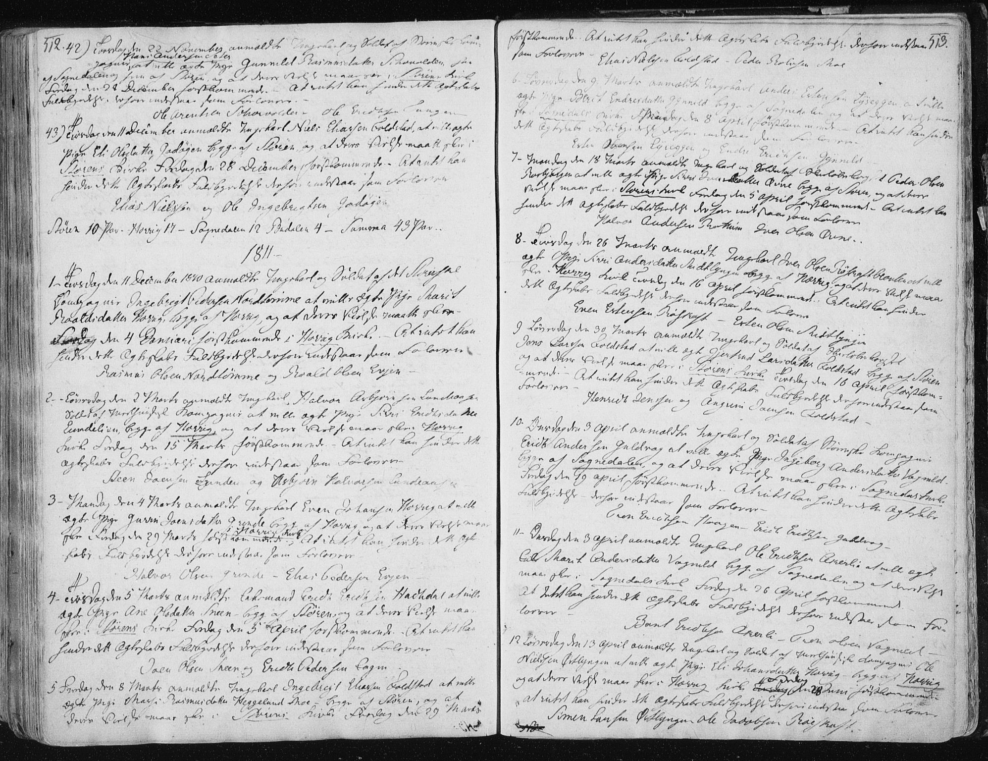 SAT, Ministerialprotokoller, klokkerbøker og fødselsregistre - Sør-Trøndelag, 687/L0992: Ministerialbok nr. 687A03 /1, 1788-1815, s. 512-513