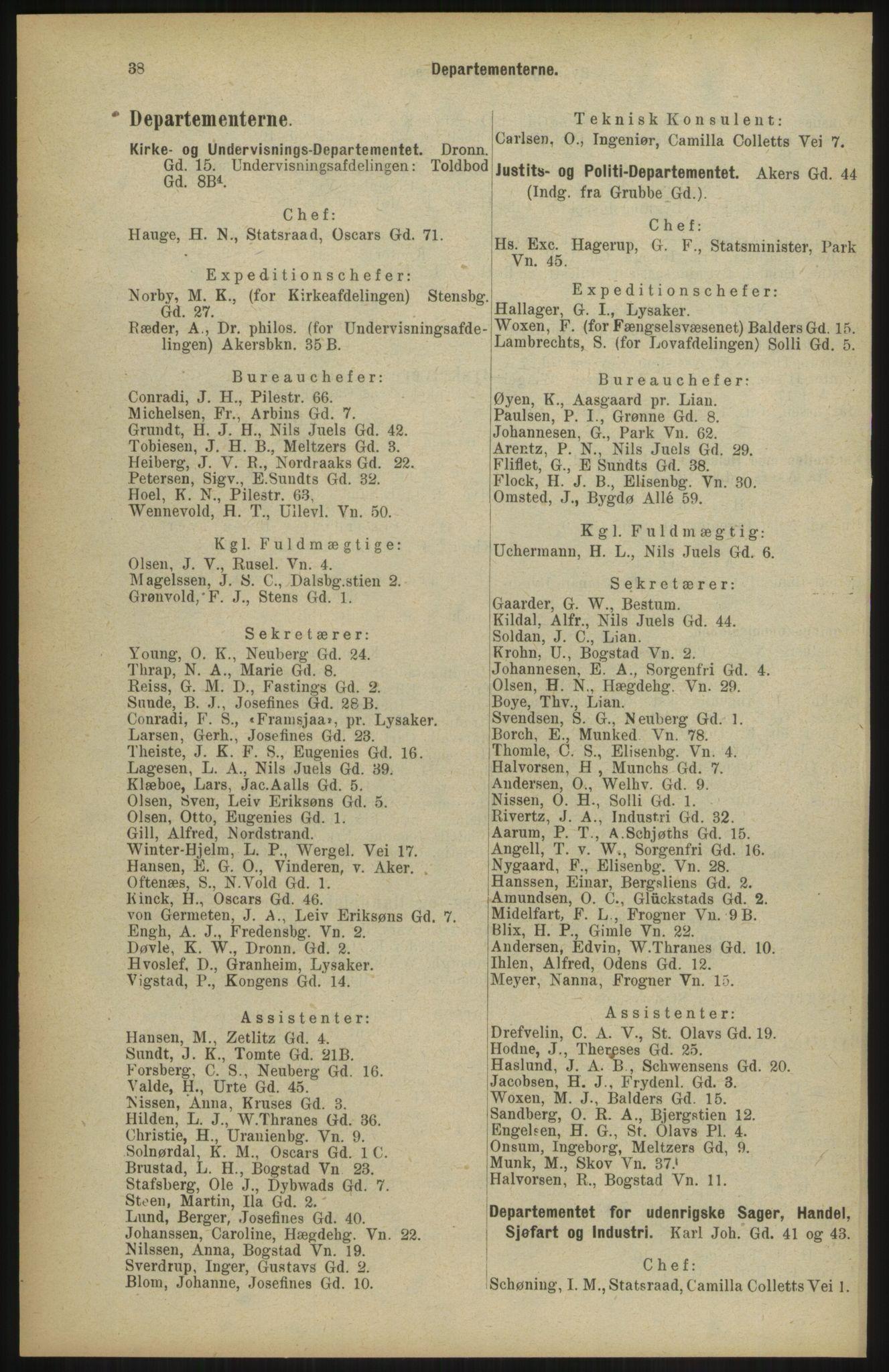 RA, Kristiania adressebok (publikasjon)*, 1904, s. 38