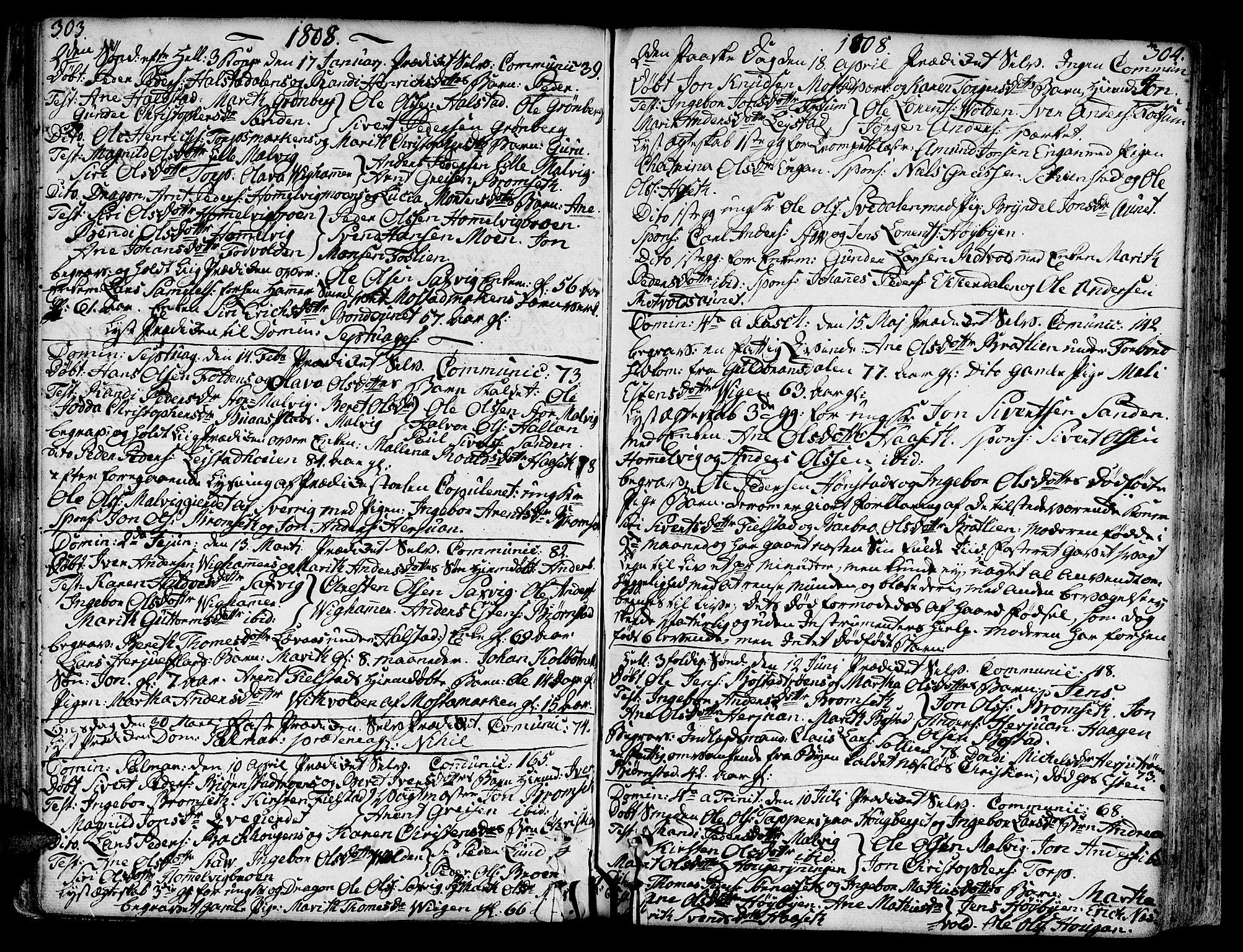 SAT, Ministerialprotokoller, klokkerbøker og fødselsregistre - Sør-Trøndelag, 606/L0281: Ministerialbok nr. 606A02 /2, 1781-1817, s. 303-304