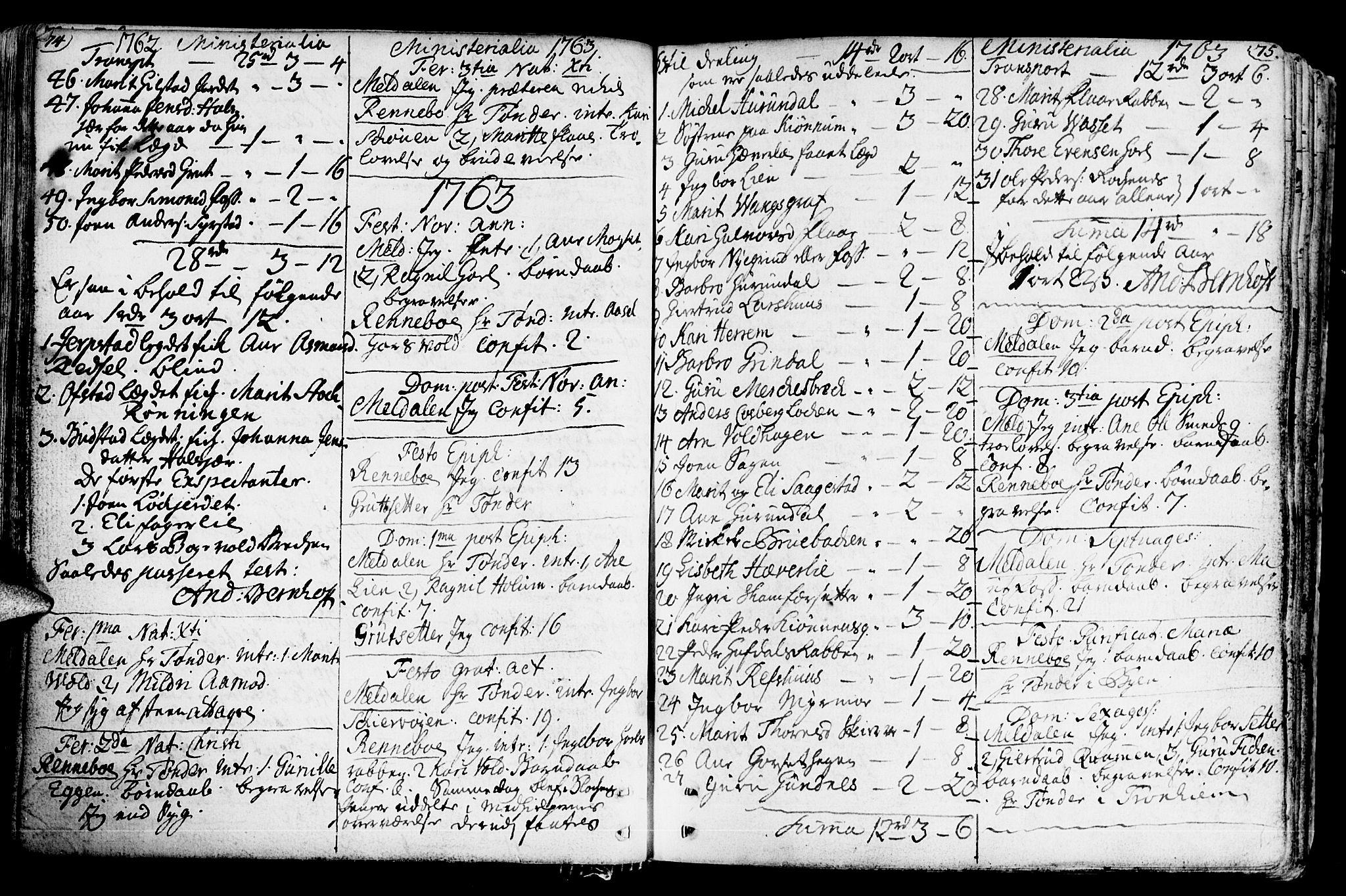 SAT, Ministerialprotokoller, klokkerbøker og fødselsregistre - Sør-Trøndelag, 672/L0851: Ministerialbok nr. 672A04, 1751-1775, s. 74-75