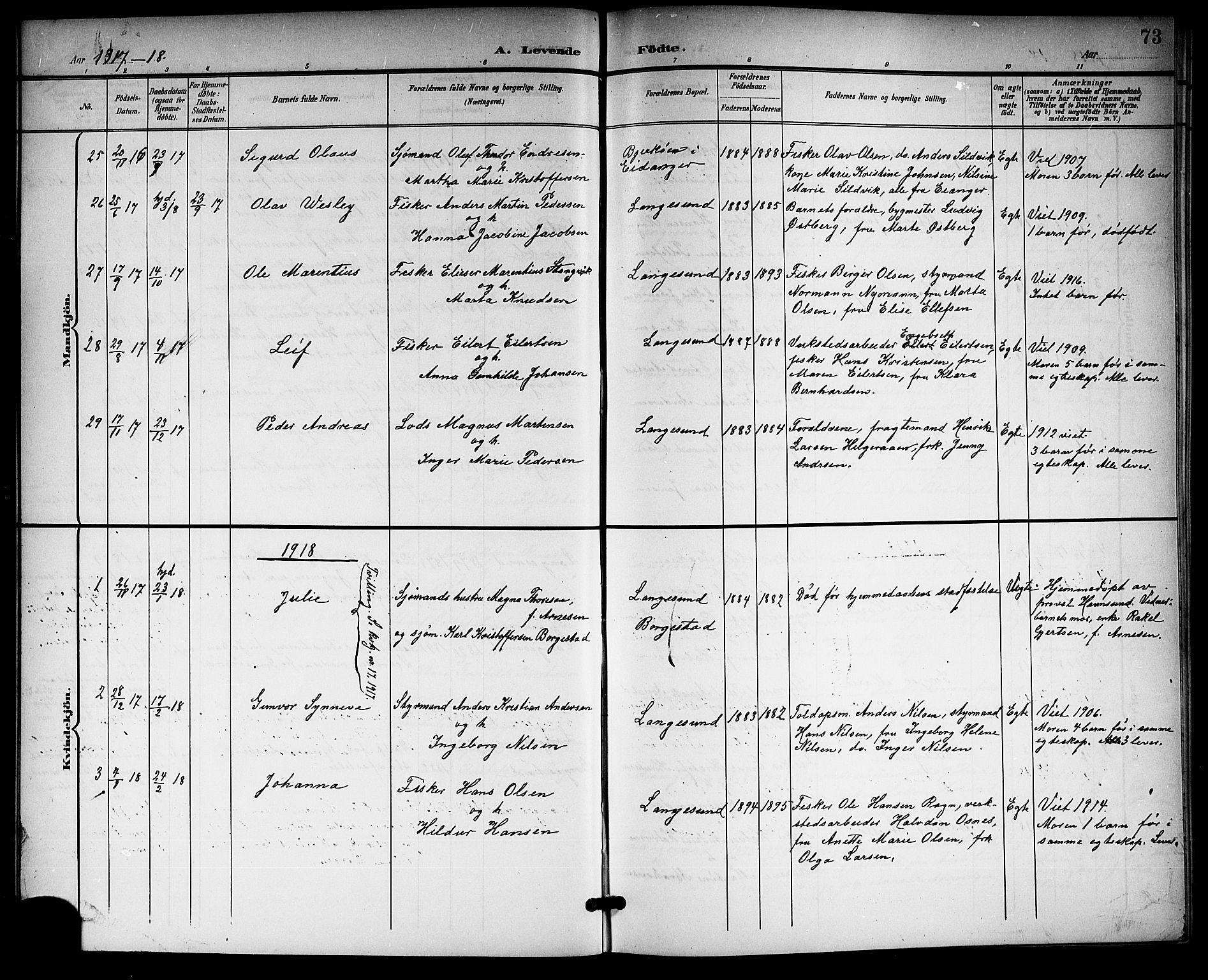 SAKO, Langesund kirkebøker, G/Ga/L0006: Klokkerbok nr. 6, 1899-1918, s. 73