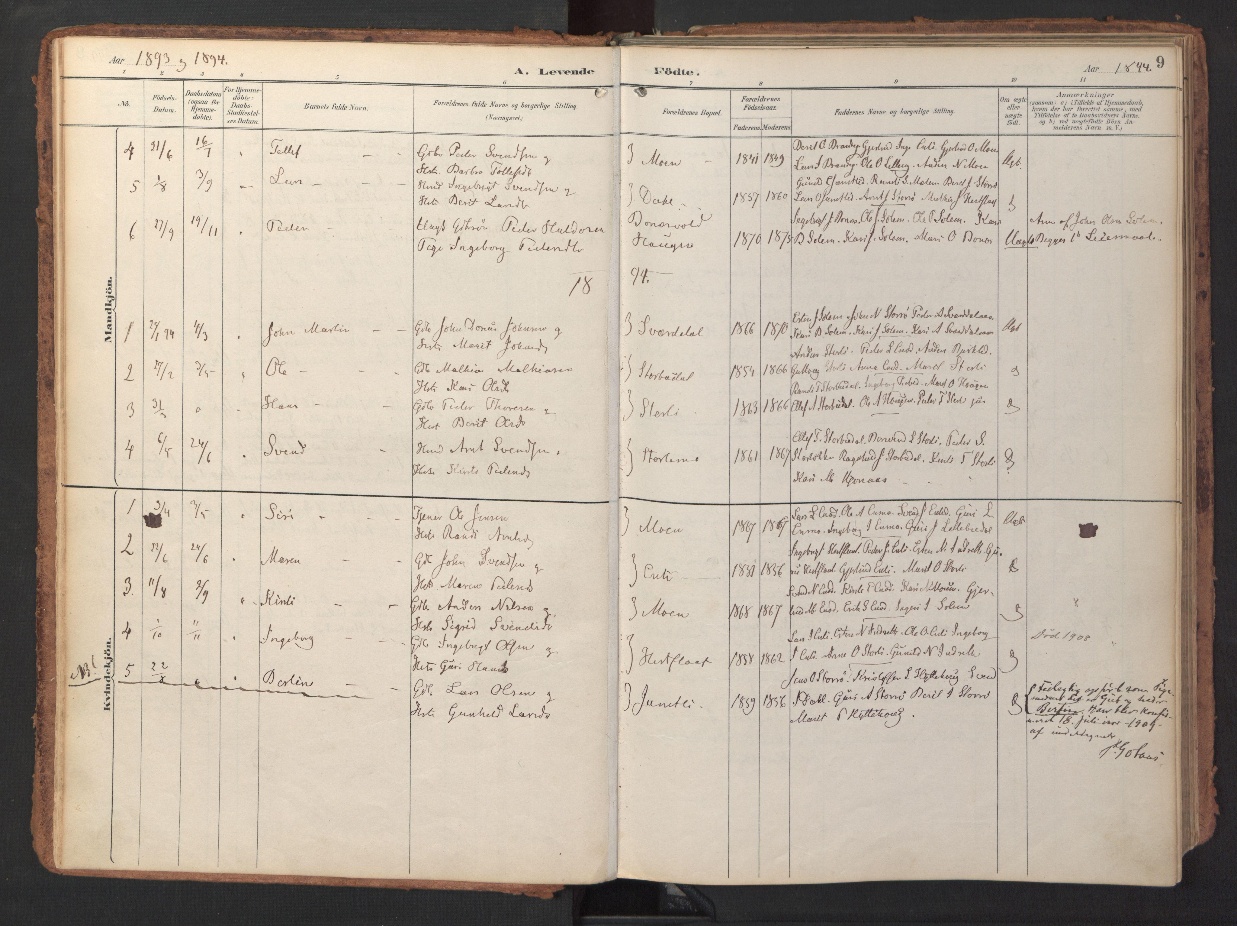 SAT, Ministerialprotokoller, klokkerbøker og fødselsregistre - Sør-Trøndelag, 690/L1050: Ministerialbok nr. 690A01, 1889-1929, s. 9