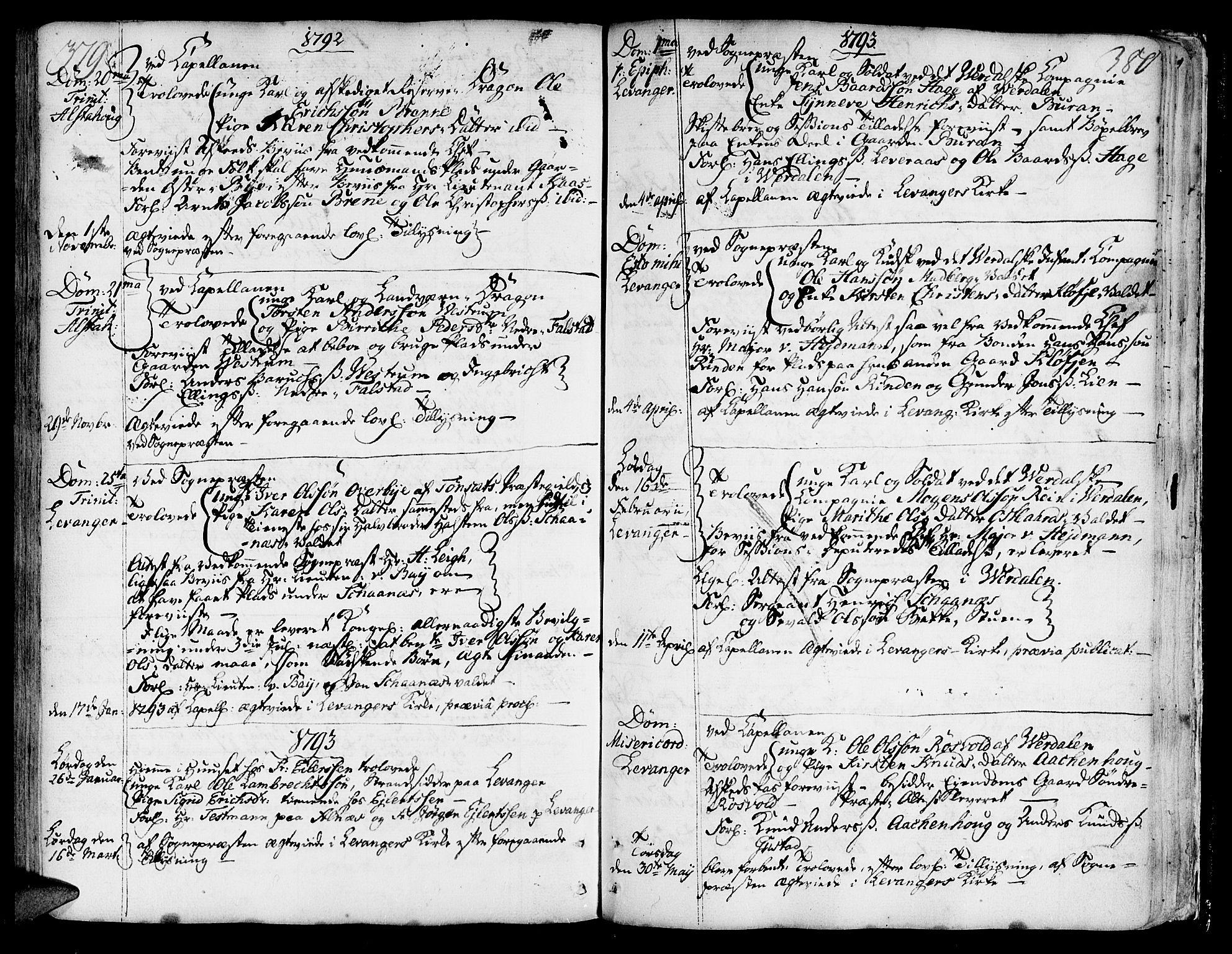 SAT, Ministerialprotokoller, klokkerbøker og fødselsregistre - Nord-Trøndelag, 717/L0141: Ministerialbok nr. 717A01, 1747-1803, s. 379-380
