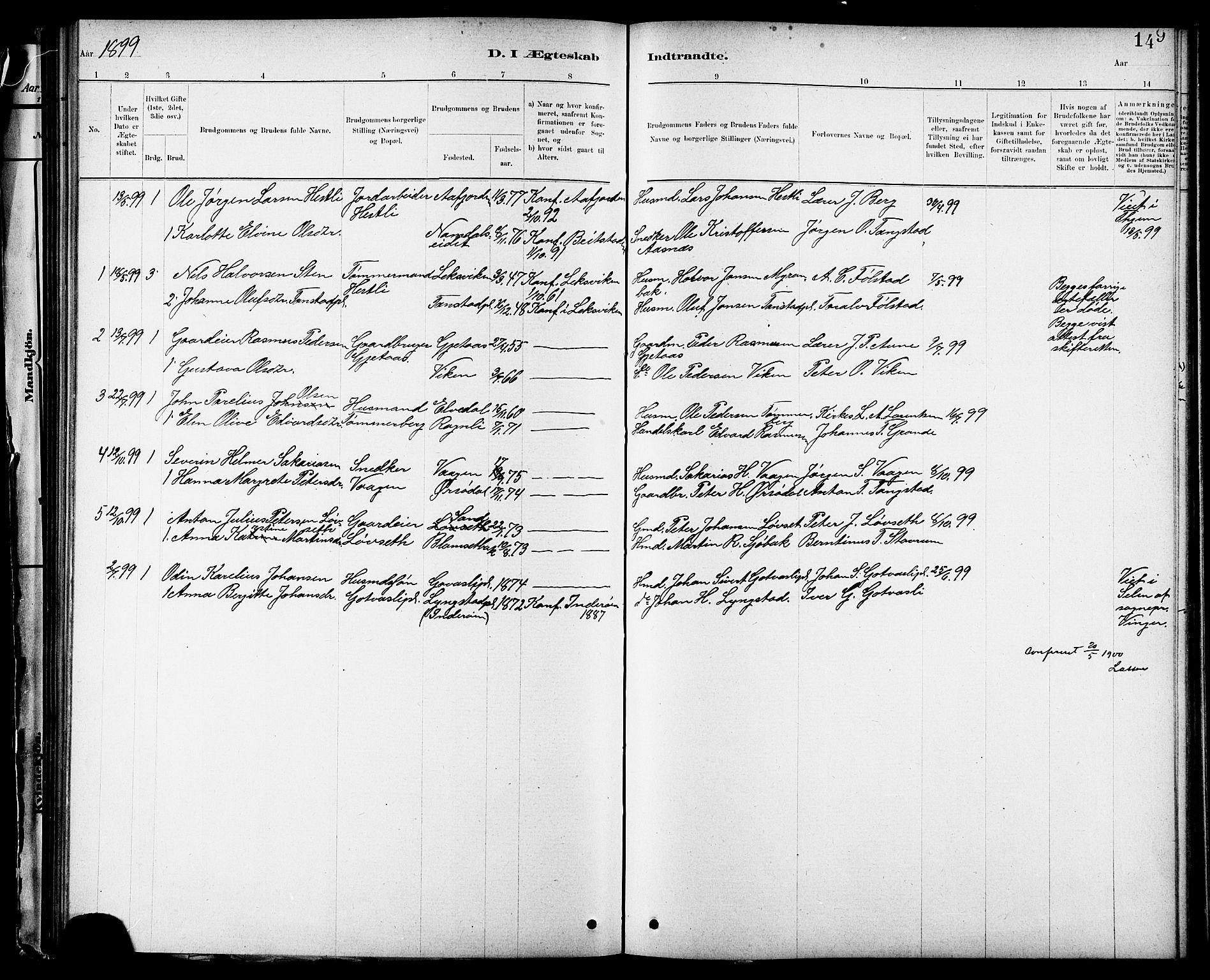 SAT, Ministerialprotokoller, klokkerbøker og fødselsregistre - Nord-Trøndelag, 744/L0423: Klokkerbok nr. 744C02, 1886-1905, s. 149