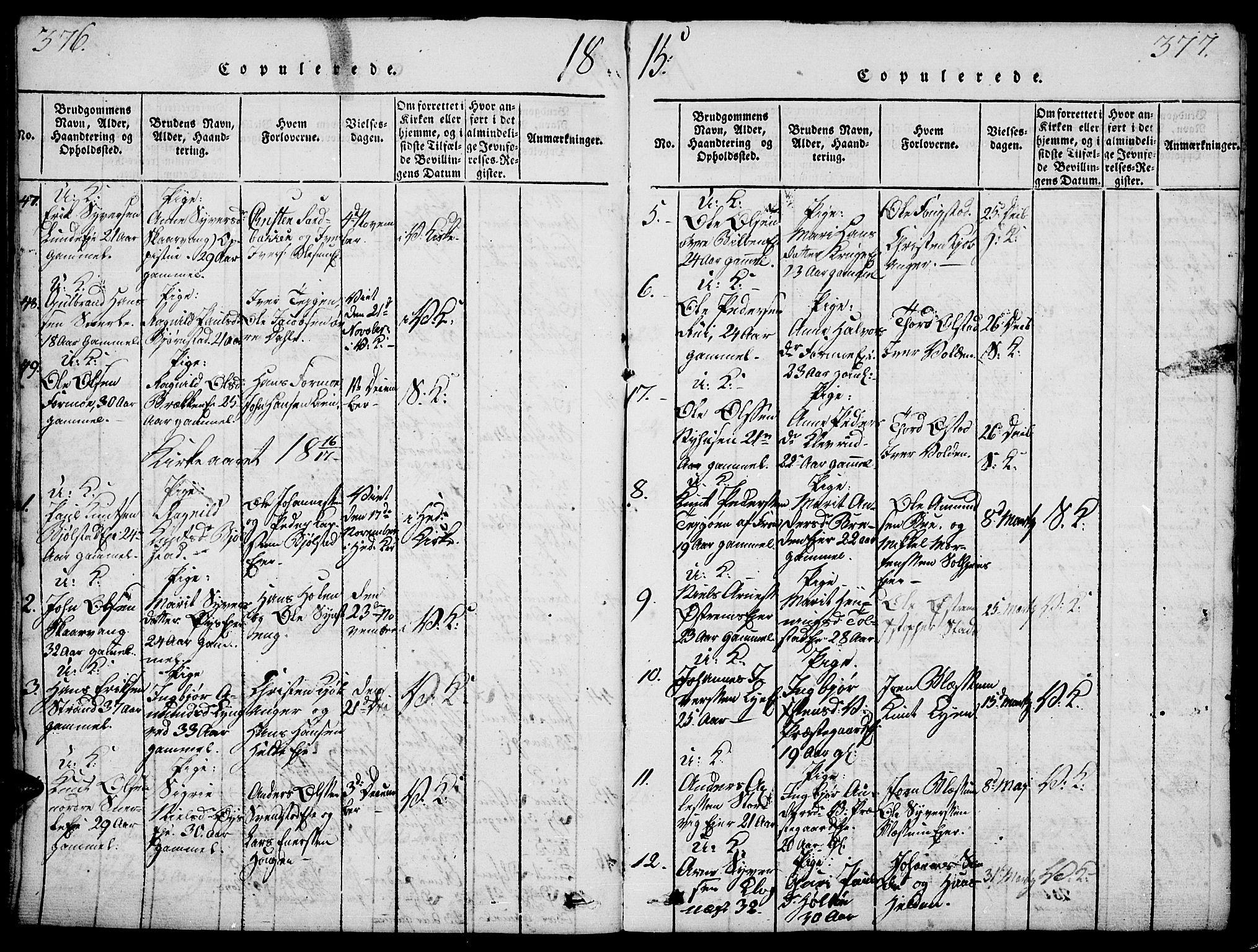 SAH, Vågå prestekontor, Ministerialbok nr. 3, 1815-1827, s. 376-377