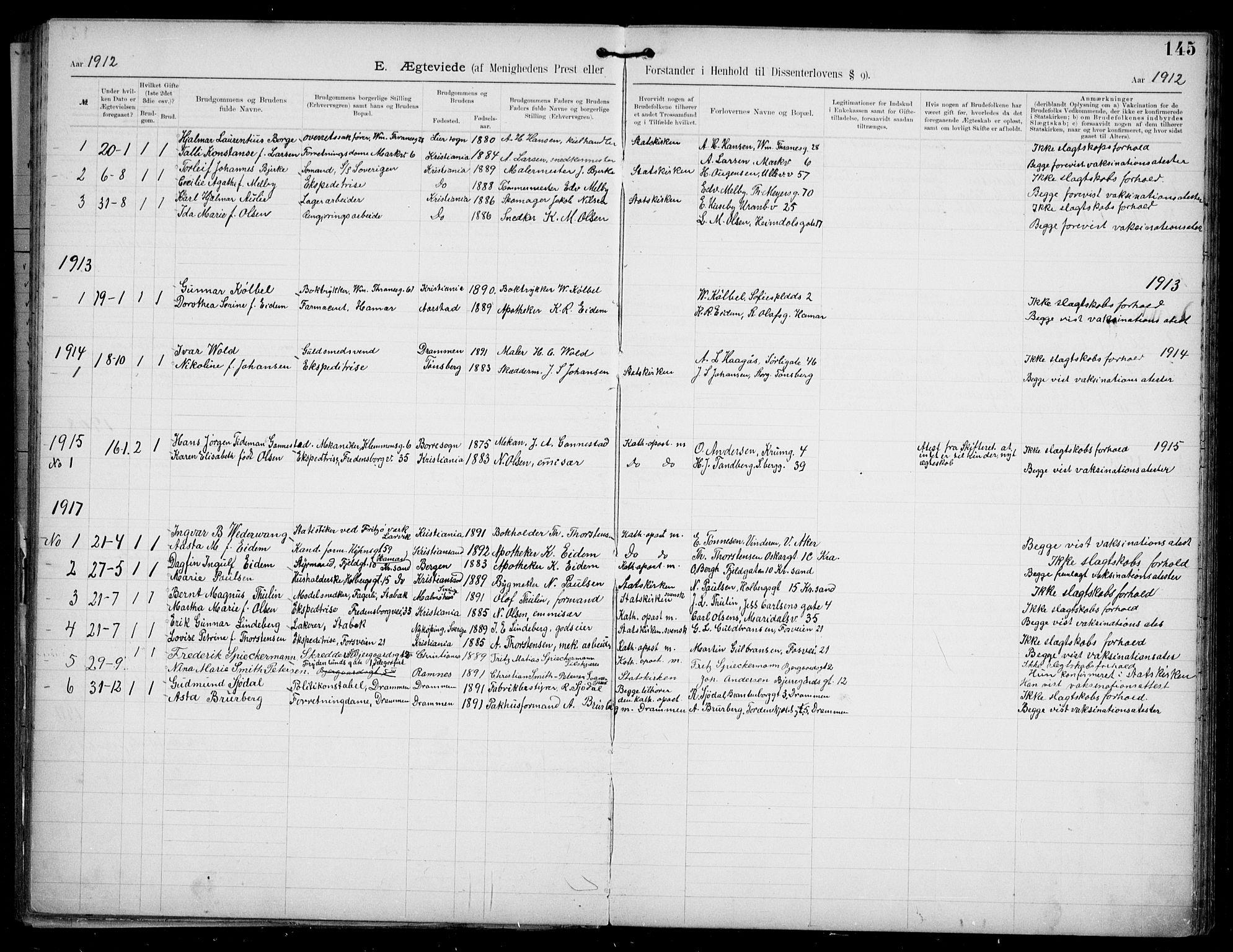 SAO, Den katolsk apostoliske menighet i Oslo , F/Fa/L0002: Dissenterprotokoll nr. 2, 1892-1937, s. 145