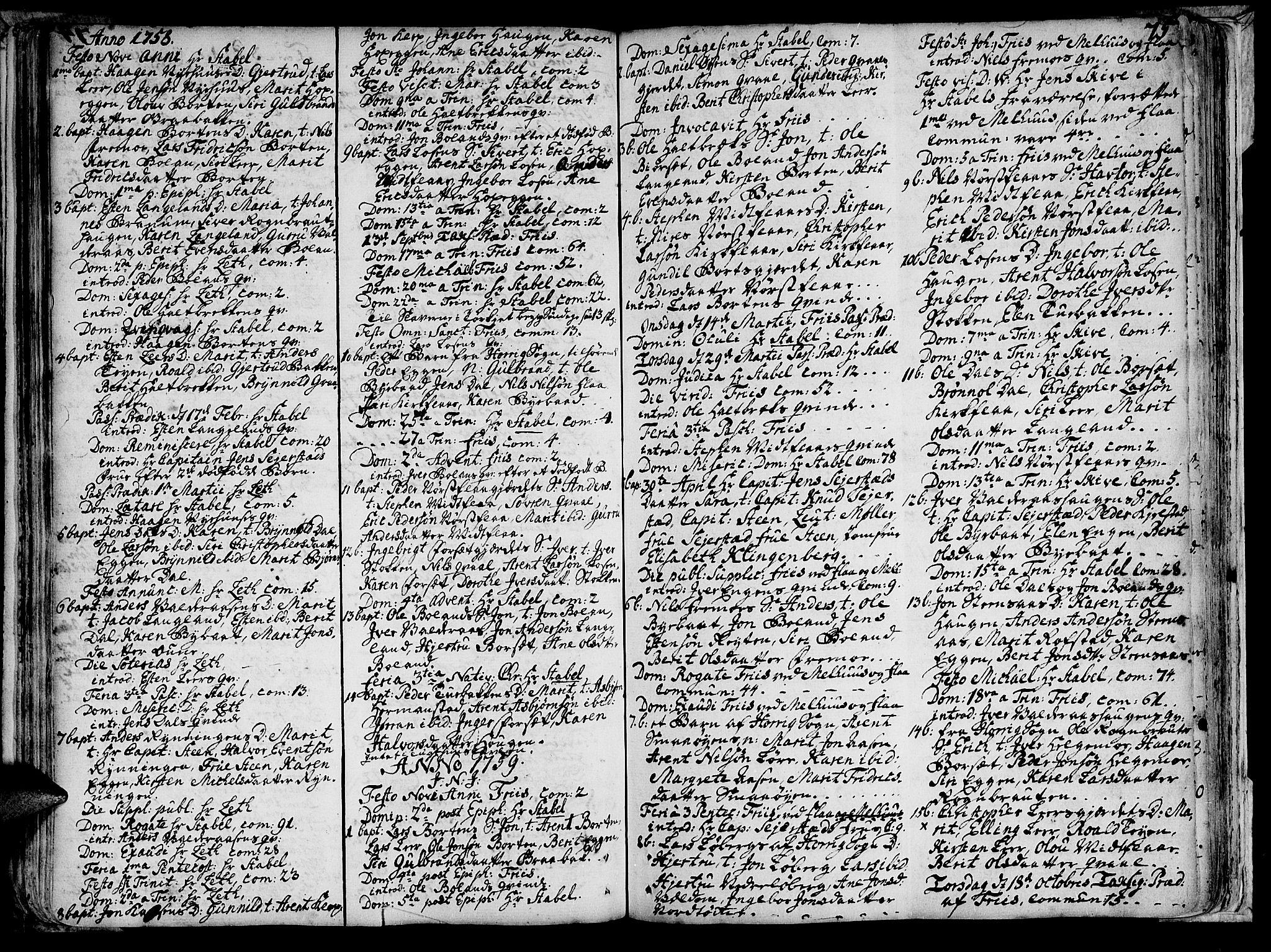 SAT, Ministerialprotokoller, klokkerbøker og fødselsregistre - Sør-Trøndelag, 691/L1058: Ministerialbok nr. 691A01 /2, 1740-1767, s. 75