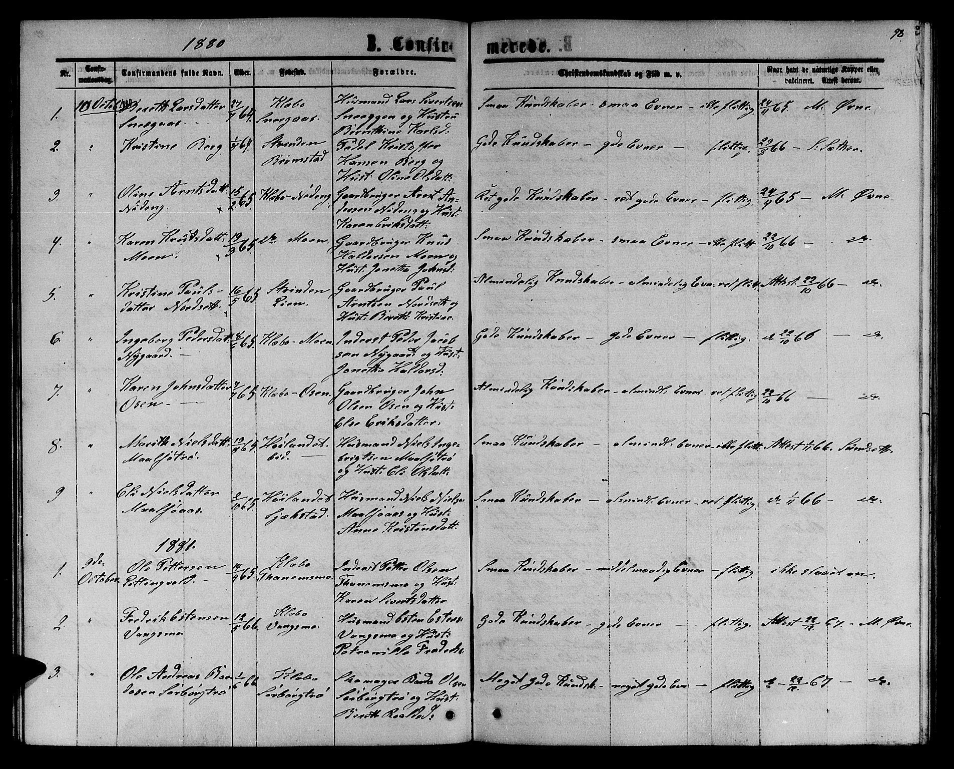SAT, Ministerialprotokoller, klokkerbøker og fødselsregistre - Sør-Trøndelag, 618/L0451: Klokkerbok nr. 618C02, 1865-1883, s. 98