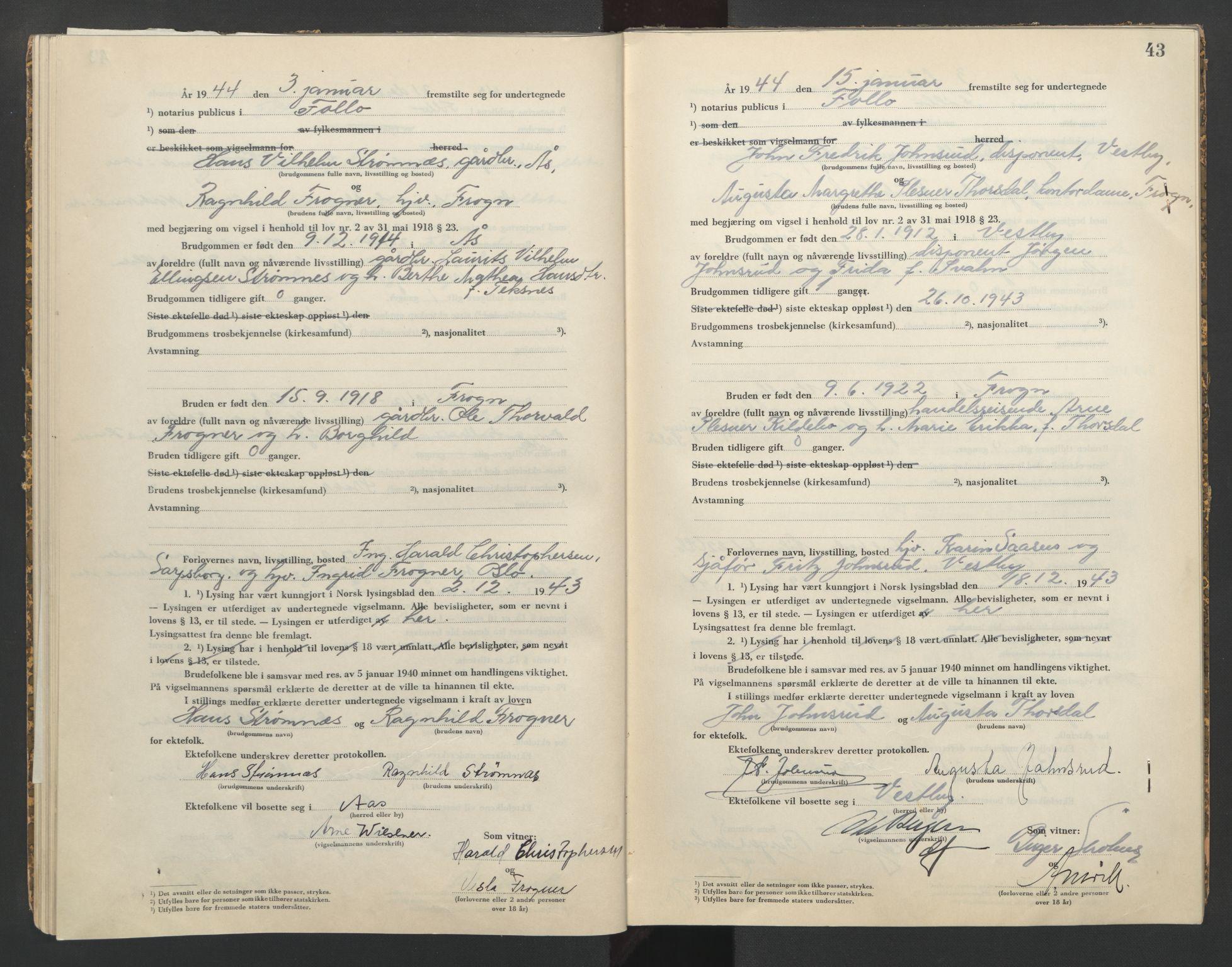 SAO, Follo sorenskriveri, L/La/Lab/L0002: Vigselsbok, 1942-1946, s. 43