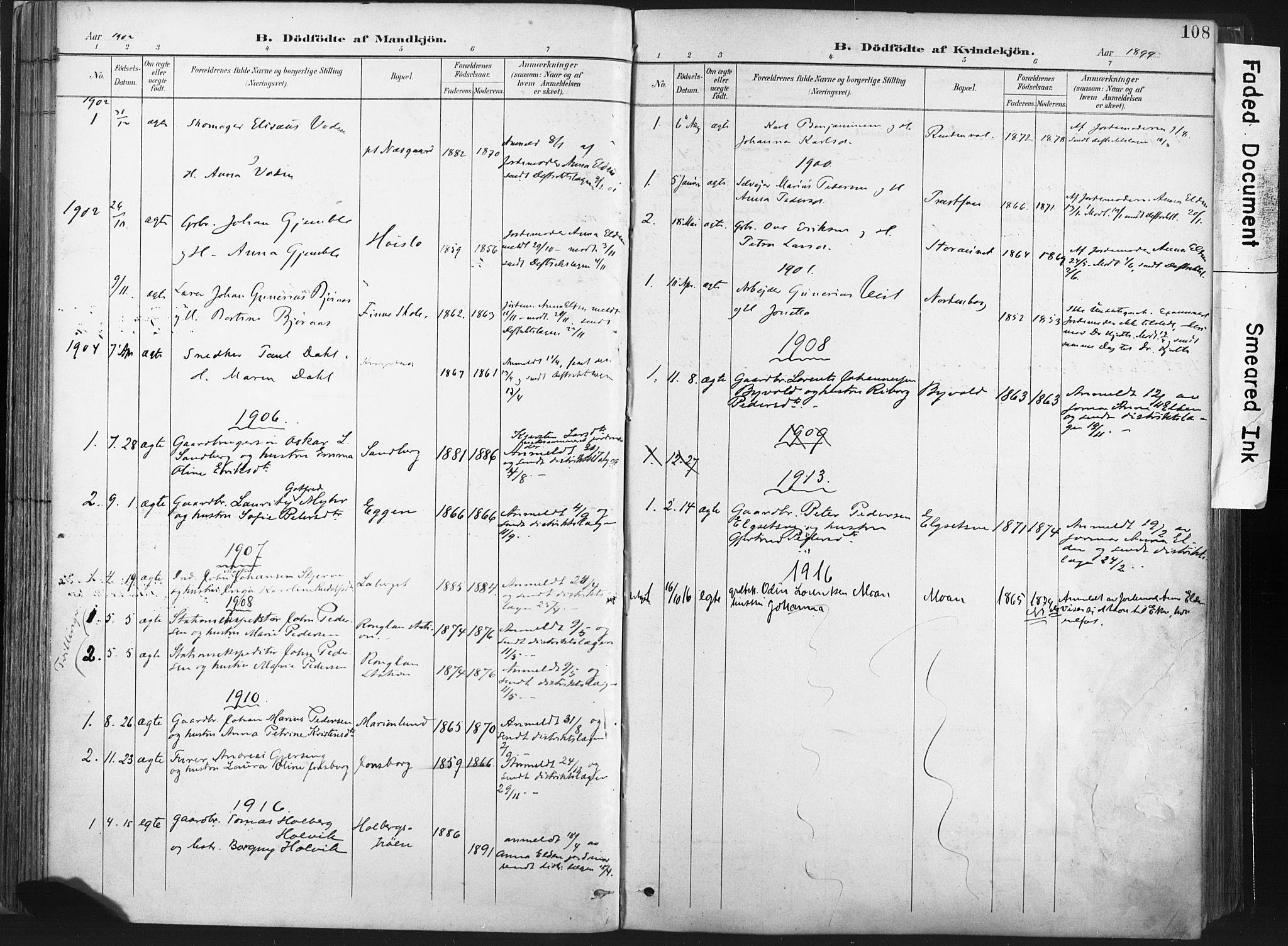 SAT, Ministerialprotokoller, klokkerbøker og fødselsregistre - Nord-Trøndelag, 717/L0162: Ministerialbok nr. 717A12, 1898-1923, s. 108