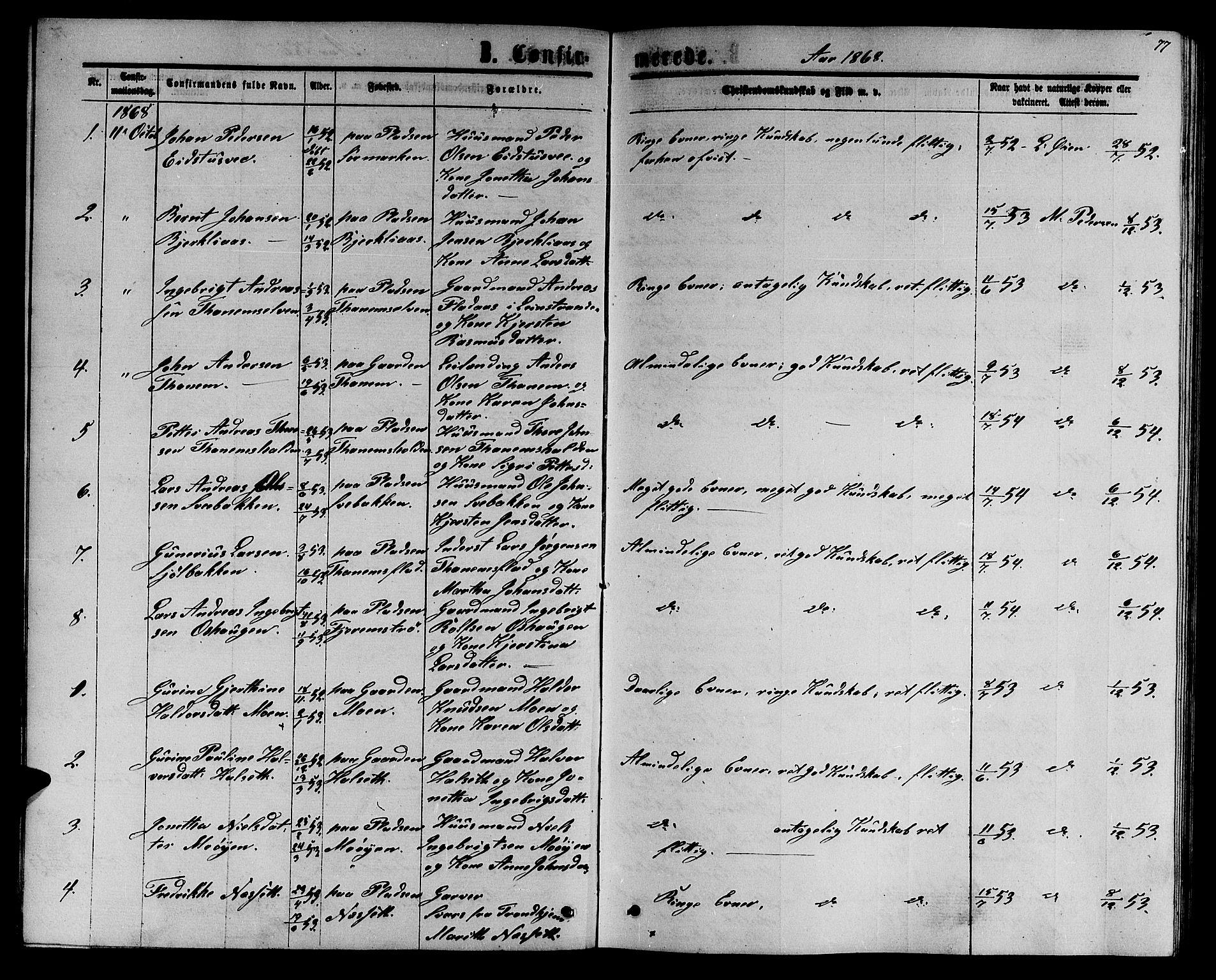 SAT, Ministerialprotokoller, klokkerbøker og fødselsregistre - Sør-Trøndelag, 618/L0451: Klokkerbok nr. 618C02, 1865-1883, s. 77
