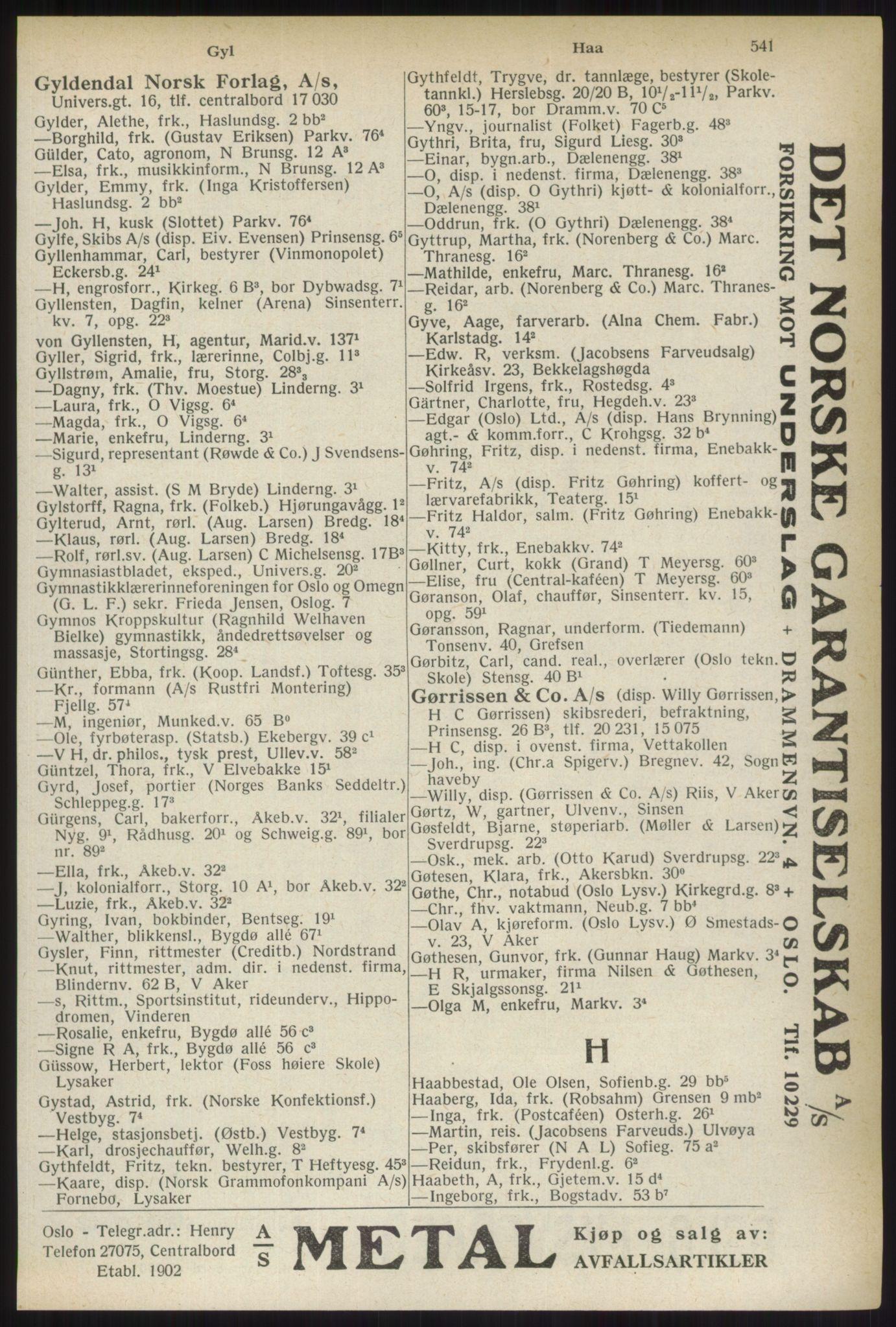 RA, Oslo adressebok (publikasjon)*, 1937, s. 541