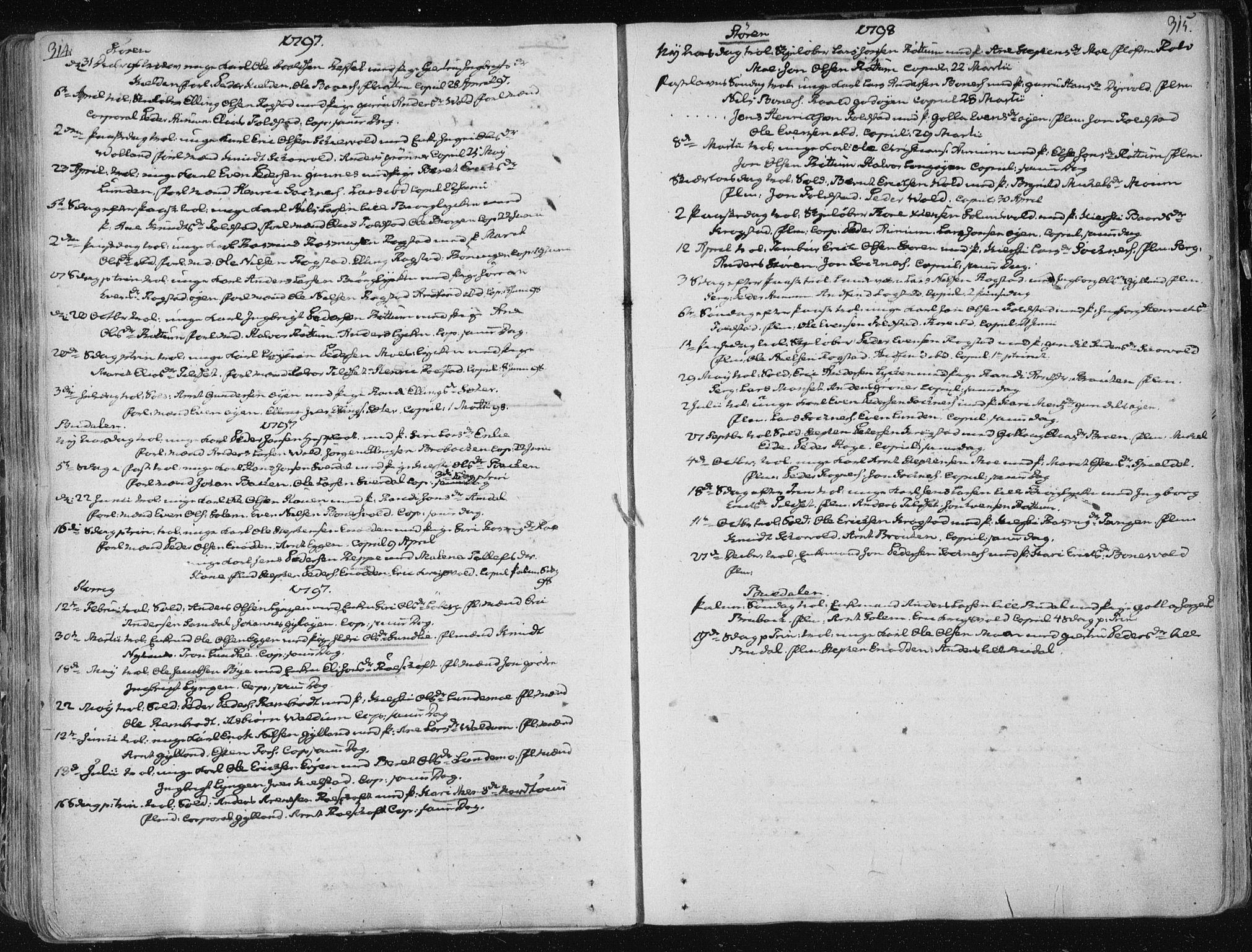 SAT, Ministerialprotokoller, klokkerbøker og fødselsregistre - Sør-Trøndelag, 687/L0992: Ministerialbok nr. 687A03 /1, 1788-1815, s. 314-315