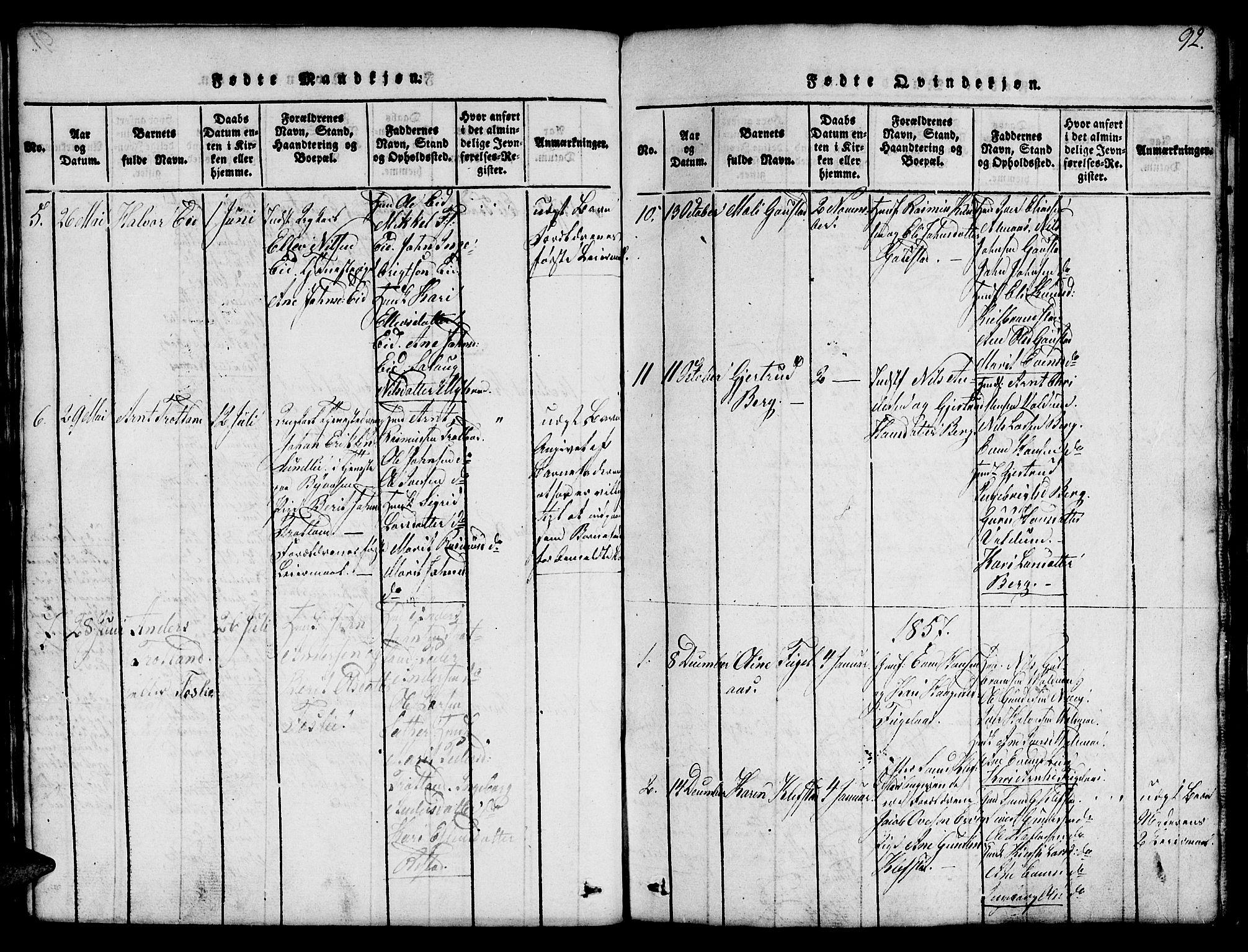 SAT, Ministerialprotokoller, klokkerbøker og fødselsregistre - Sør-Trøndelag, 694/L1130: Klokkerbok nr. 694C02, 1816-1857, s. 92