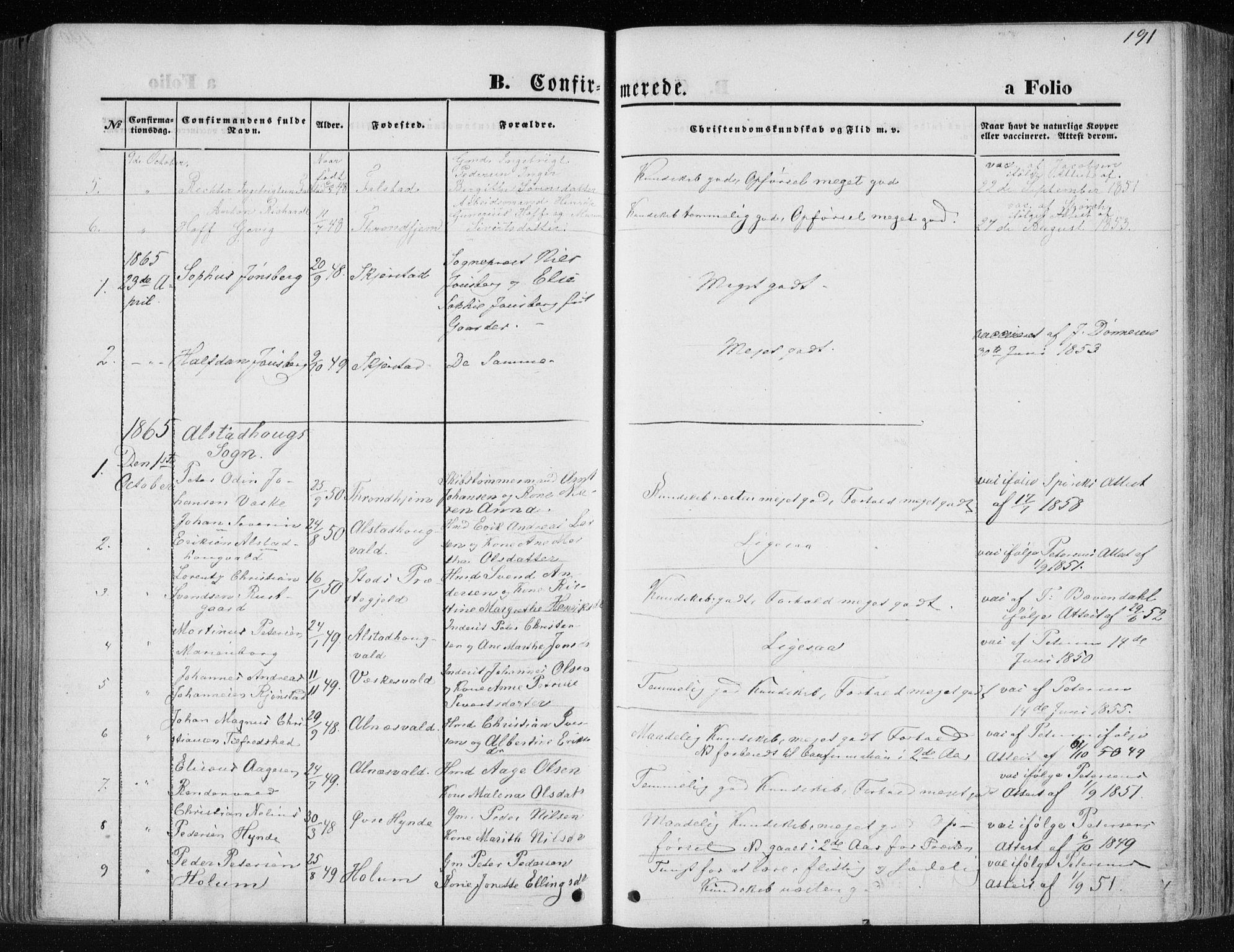 SAT, Ministerialprotokoller, klokkerbøker og fødselsregistre - Nord-Trøndelag, 717/L0157: Ministerialbok nr. 717A08 /1, 1863-1877, s. 191