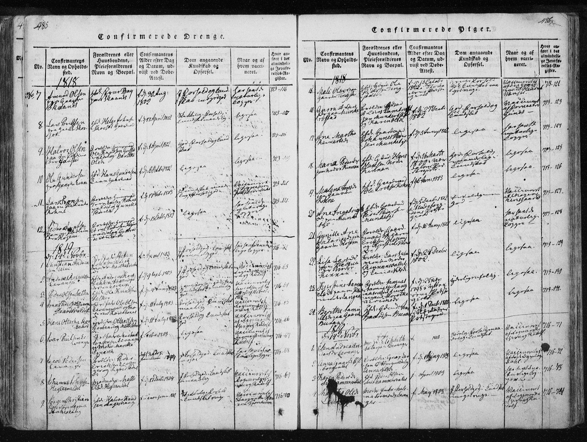 SAT, Ministerialprotokoller, klokkerbøker og fødselsregistre - Nord-Trøndelag, 717/L0148: Ministerialbok nr. 717A04 /2, 1816-1825, s. 485-486