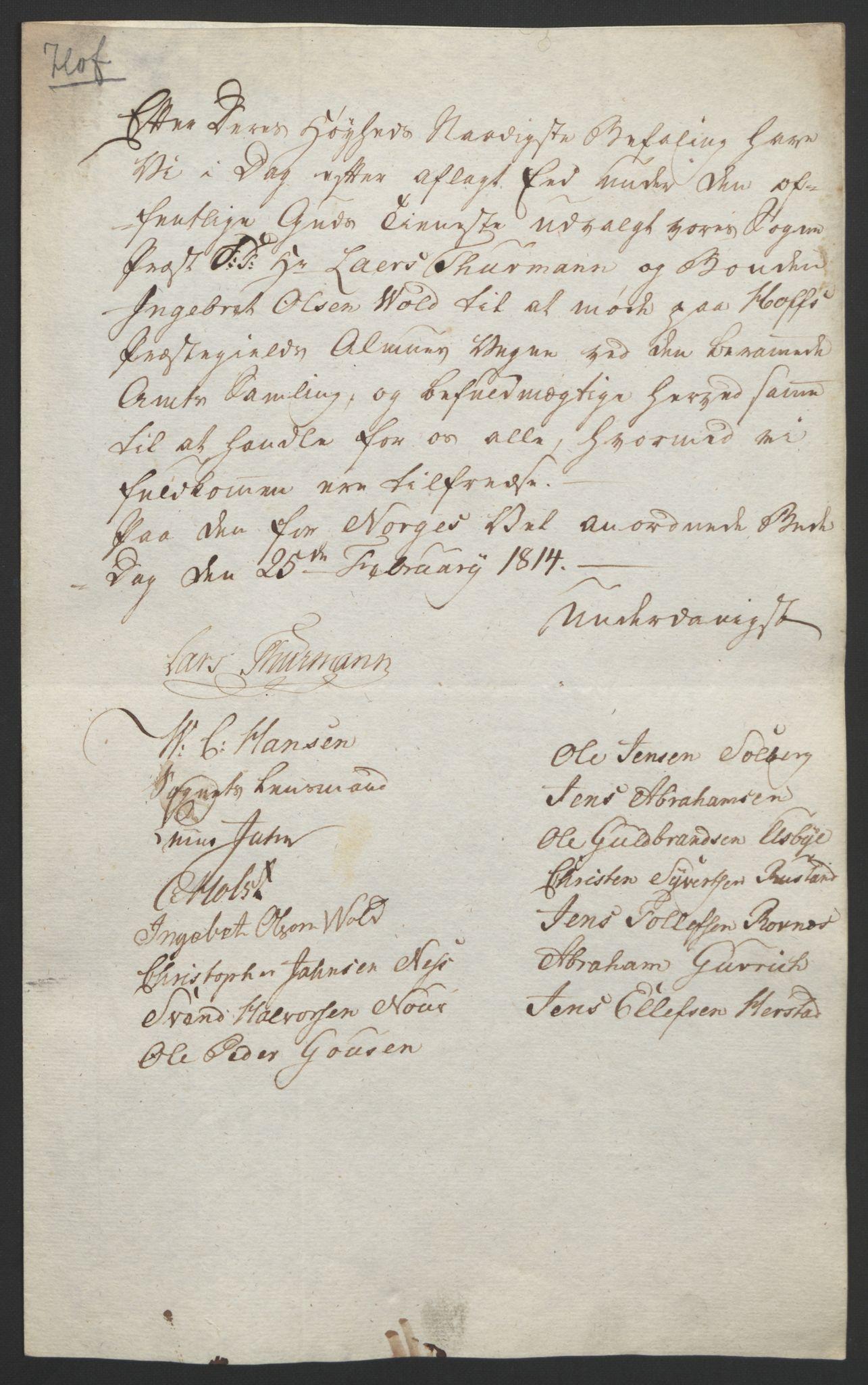 RA, Statsrådssekretariatet, D/Db/L0008: Fullmakter for Eidsvollsrepresentantene i 1814. , 1814, s. 9