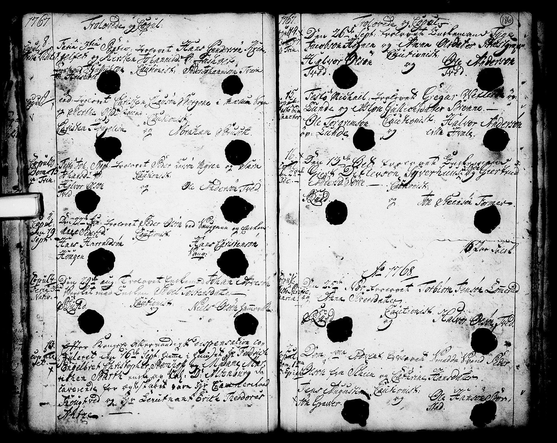 SAKO, Holla kirkebøker, F/Fa/L0001: Ministerialbok nr. 1, 1717-1779, s. 186
