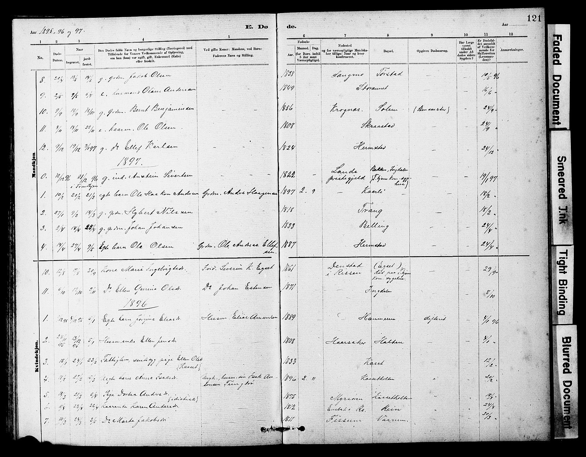 SAT, Ministerialprotokoller, klokkerbøker og fødselsregistre - Sør-Trøndelag, 646/L0628: Klokkerbok nr. 646C01, 1880-1903, s. 121