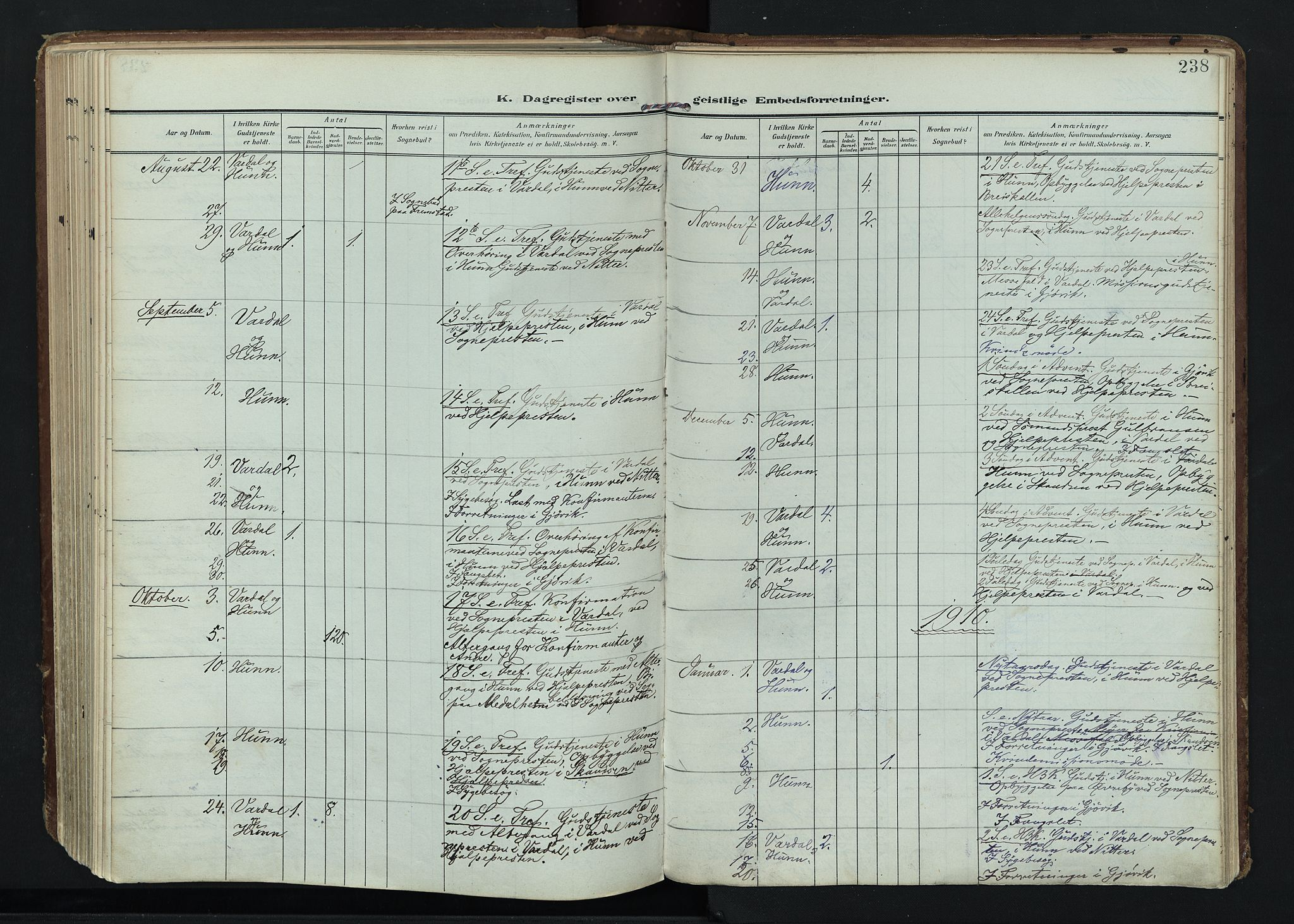 SAH, Vardal prestekontor, H/Ha/Haa/L0020: Ministerialbok nr. 20, 1907-1921, s. 238