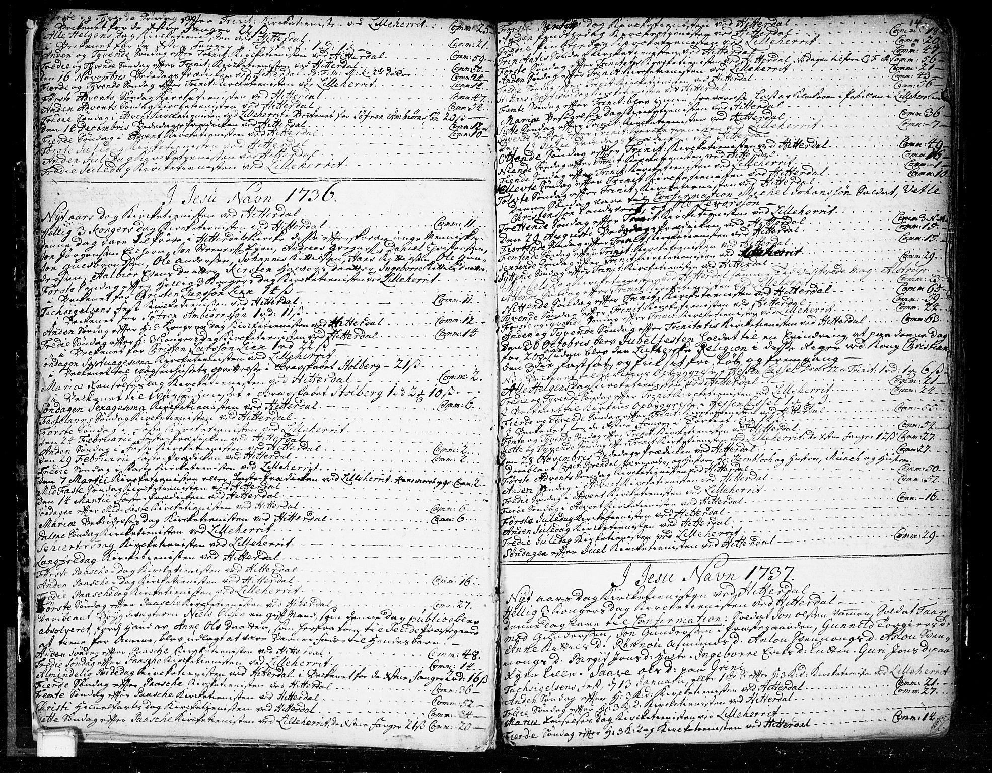 SAKO, Heddal kirkebøker, F/Fa/L0003: Ministerialbok nr. I 3, 1723-1783, s. 14
