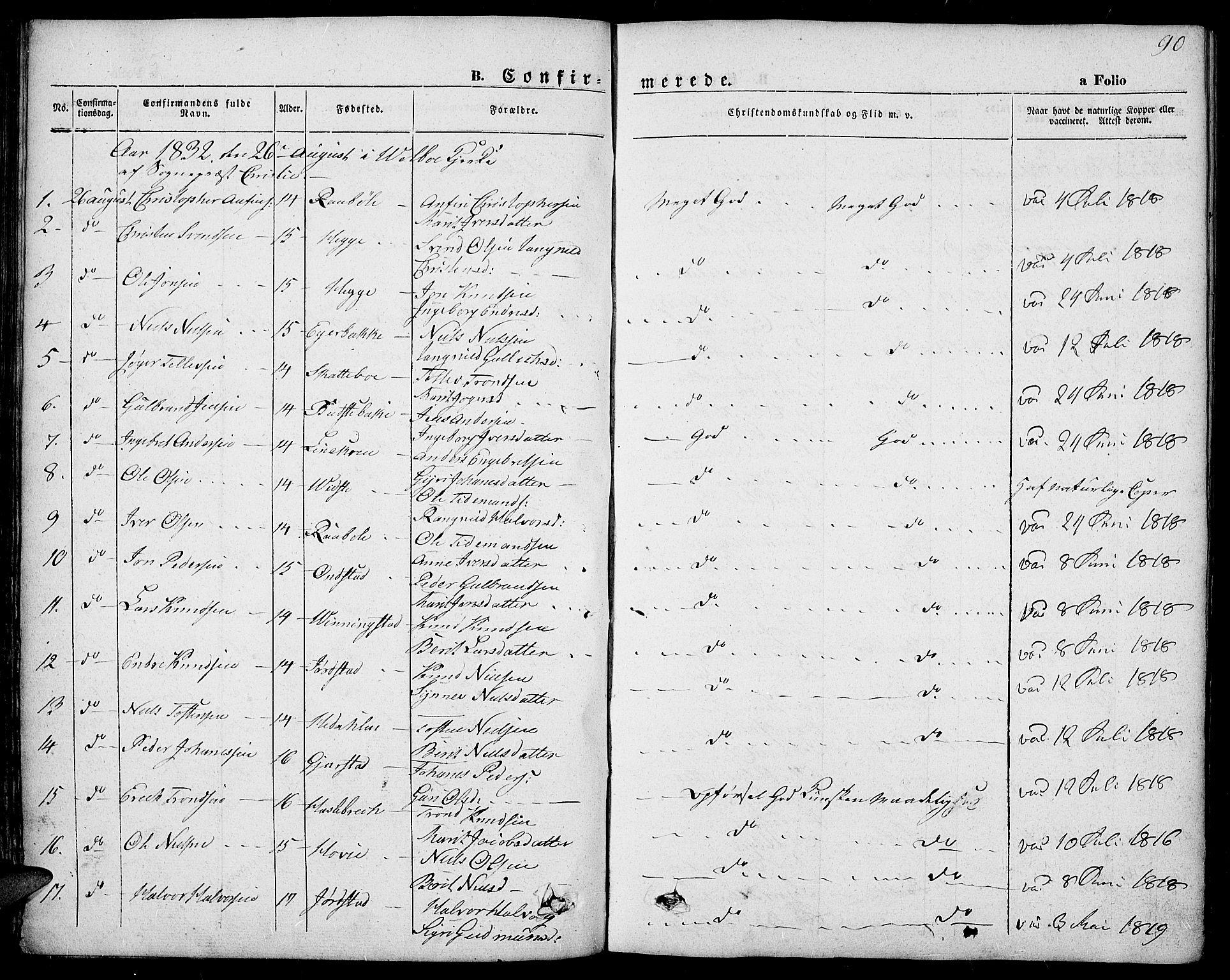 SAH, Slidre prestekontor, Ministerialbok nr. 4, 1831-1848, s. 90