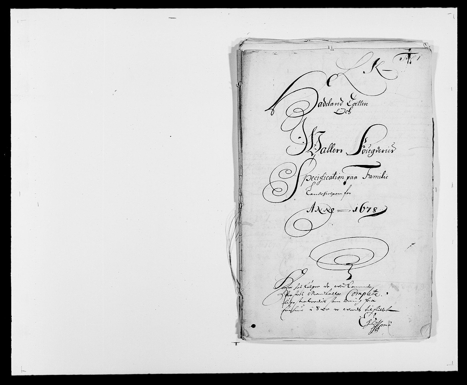 RA, Rentekammeret inntil 1814, Reviderte regnskaper, Fogderegnskap, R18/L1271: Fogderegnskap Hadeland, Toten og Valdres, 1678, s. 4