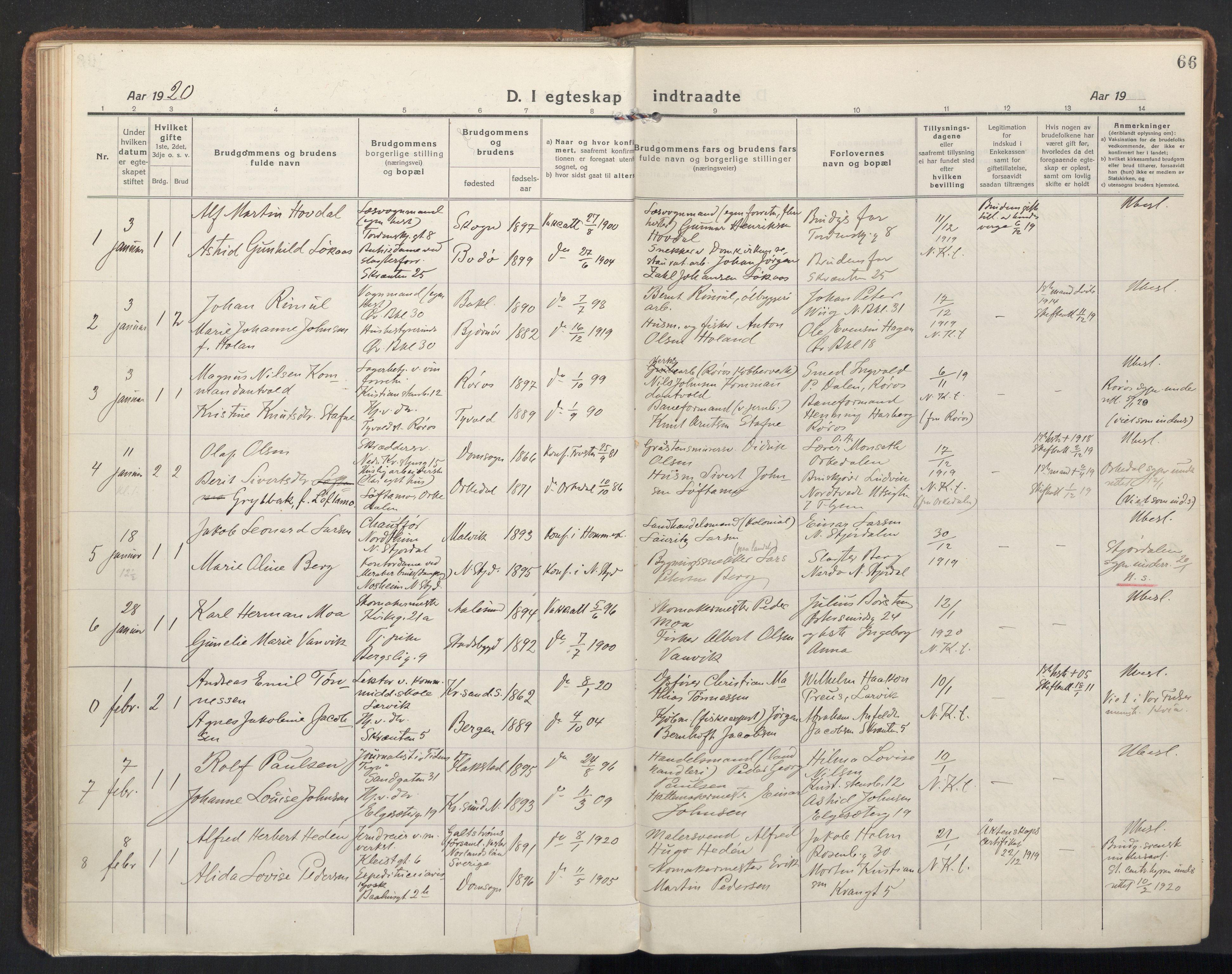 SAT, Ministerialprotokoller, klokkerbøker og fødselsregistre - Sør-Trøndelag, 604/L0206: Ministerialbok nr. 604A26, 1917-1931, s. 66