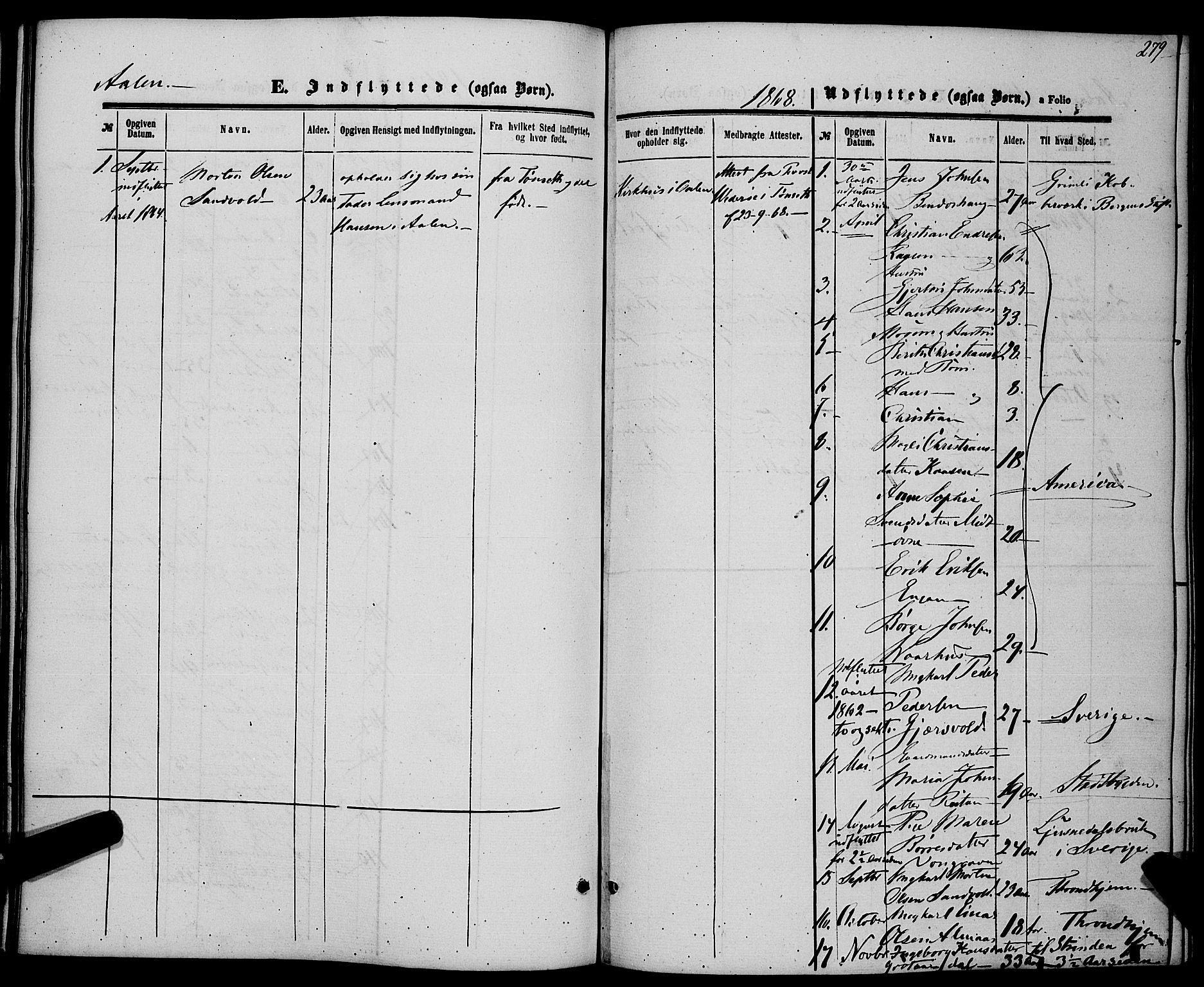 SAT, Ministerialprotokoller, klokkerbøker og fødselsregistre - Sør-Trøndelag, 685/L0968: Ministerialbok nr. 685A07 /3, 1860-1869, s. 279