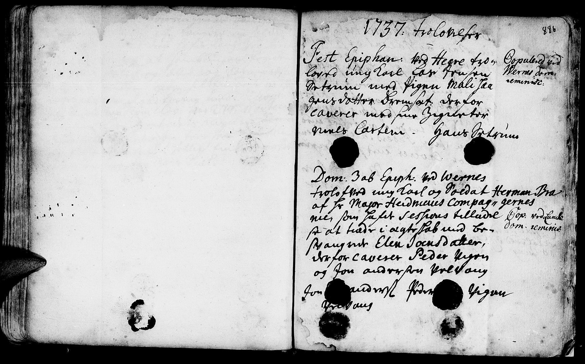 SAT, Ministerialprotokoller, klokkerbøker og fødselsregistre - Nord-Trøndelag, 709/L0055: Ministerialbok nr. 709A03, 1730-1739, s. 885-886
