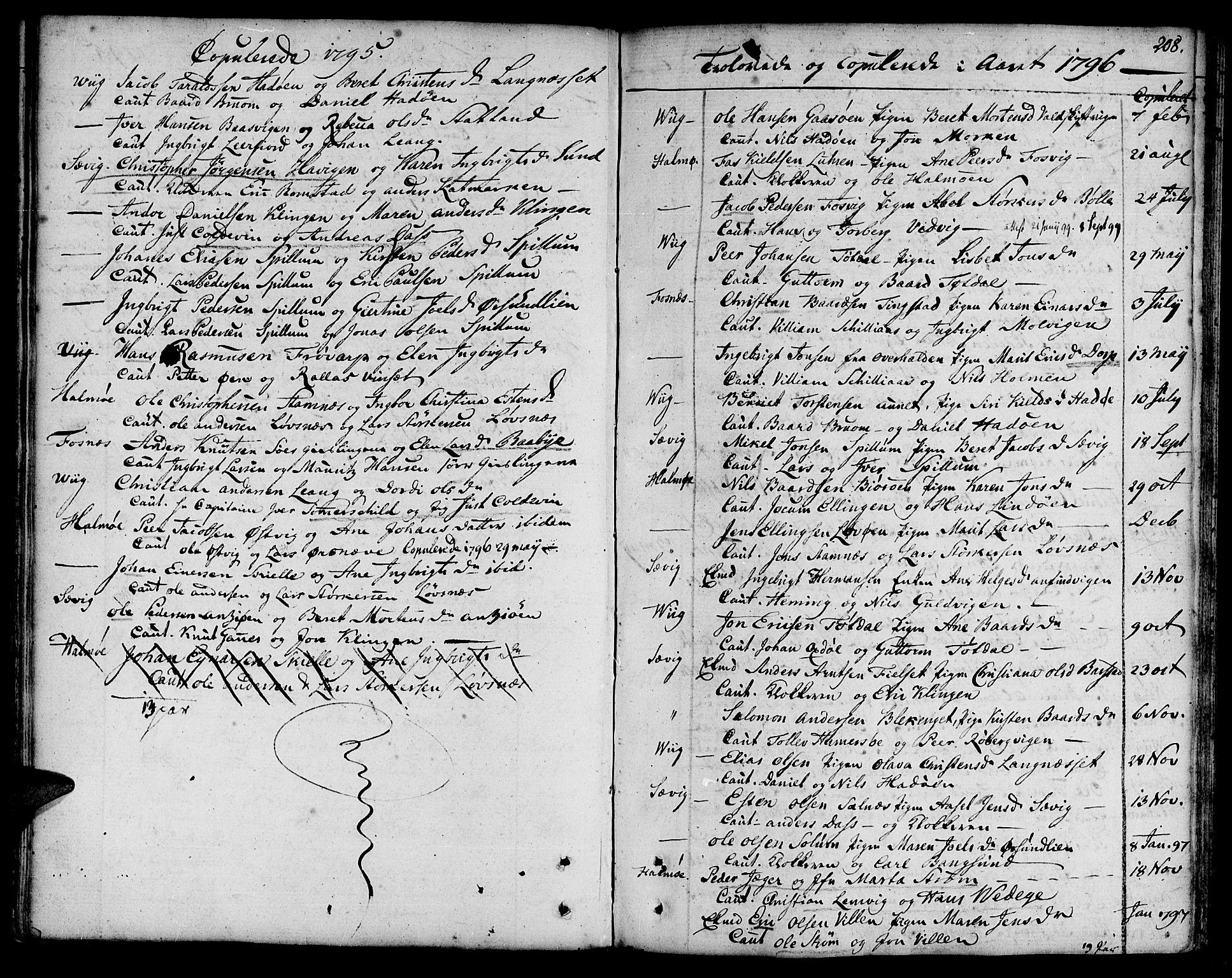 SAT, Ministerialprotokoller, klokkerbøker og fødselsregistre - Nord-Trøndelag, 773/L0608: Ministerialbok nr. 773A02, 1784-1816, s. 208