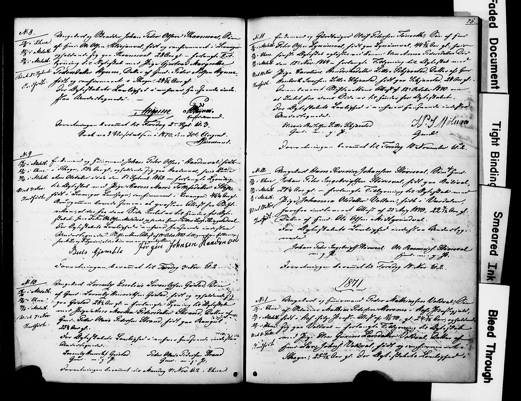 SAT, Ministerialprotokoller, klokkerbøker og fødselsregistre - Nord-Trøndelag, 717/L0161: Forlovererklæringer nr. 717A11, 1850-1895, s. 75