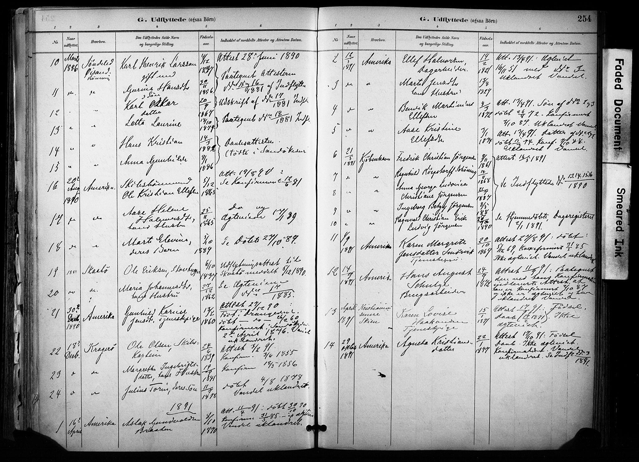 SAKO, Sannidal kirkebøker, F/Fa/L0015: Ministerialbok nr. 15, 1884-1899, s. 254