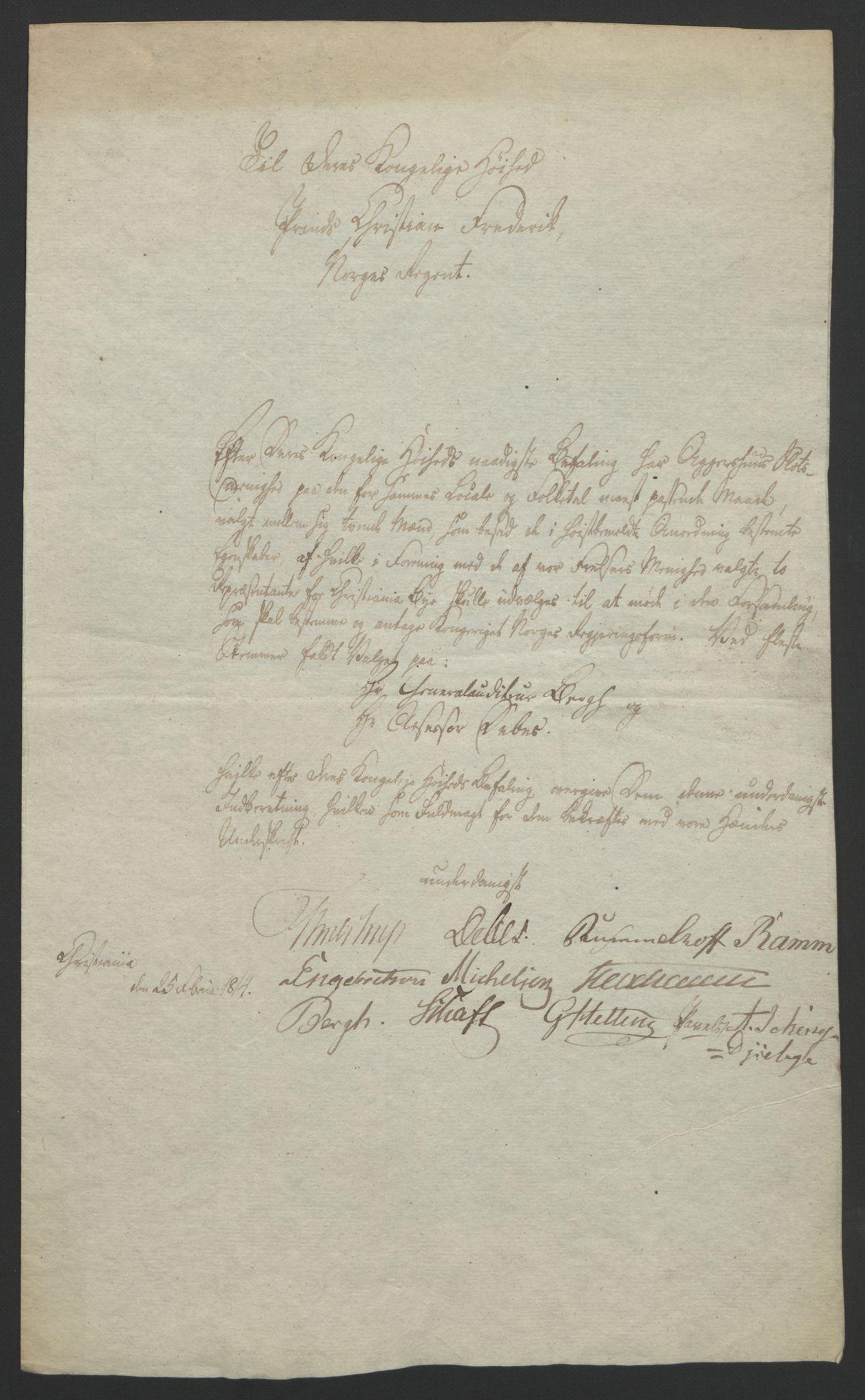 RA, Statsrådssekretariatet, D/Db/L0007: Fullmakter for Eidsvollsrepresentantene i 1814. , 1814, s. 27