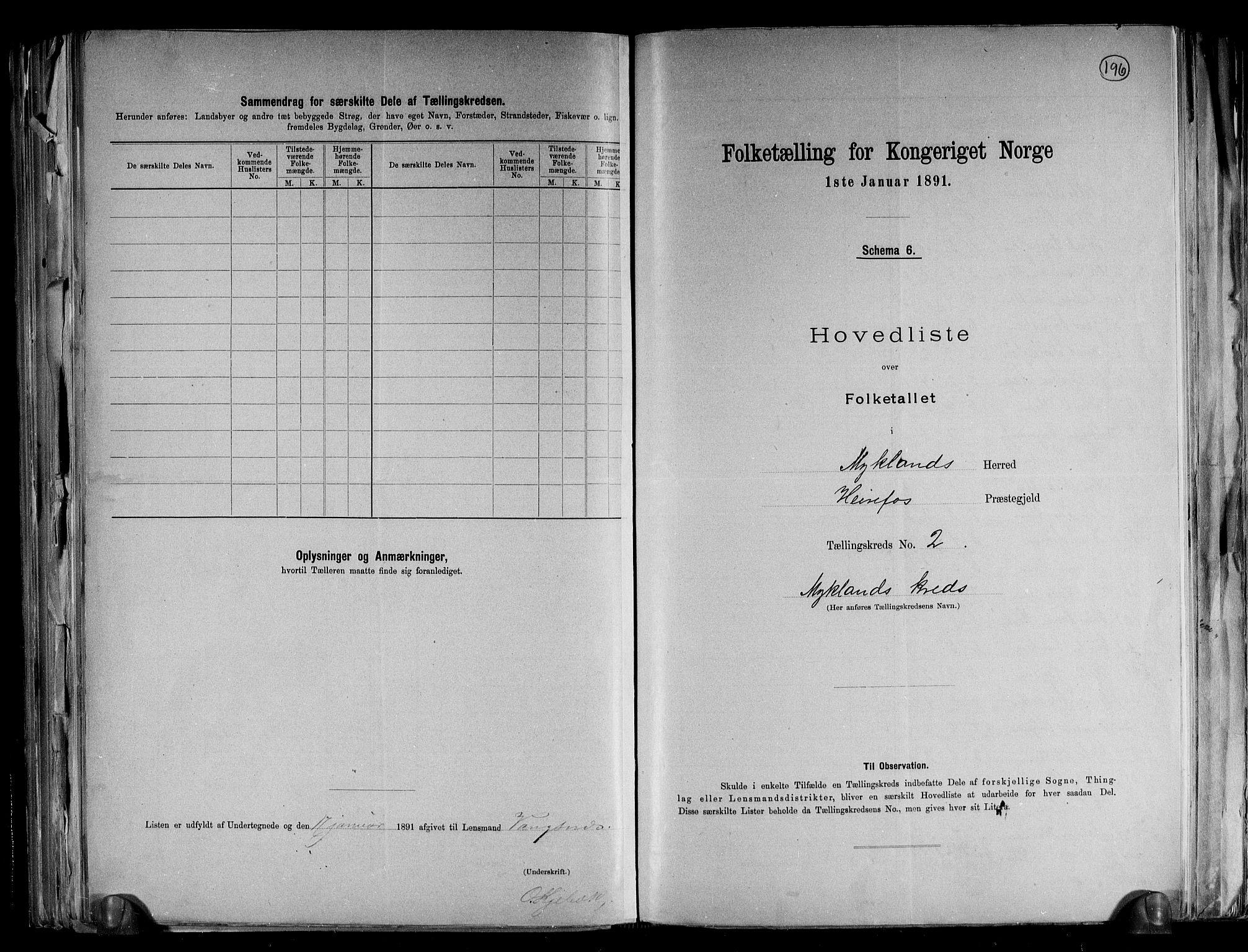 RA, Folketelling 1891 for 0932 Mykland herred, 1891, s. 6