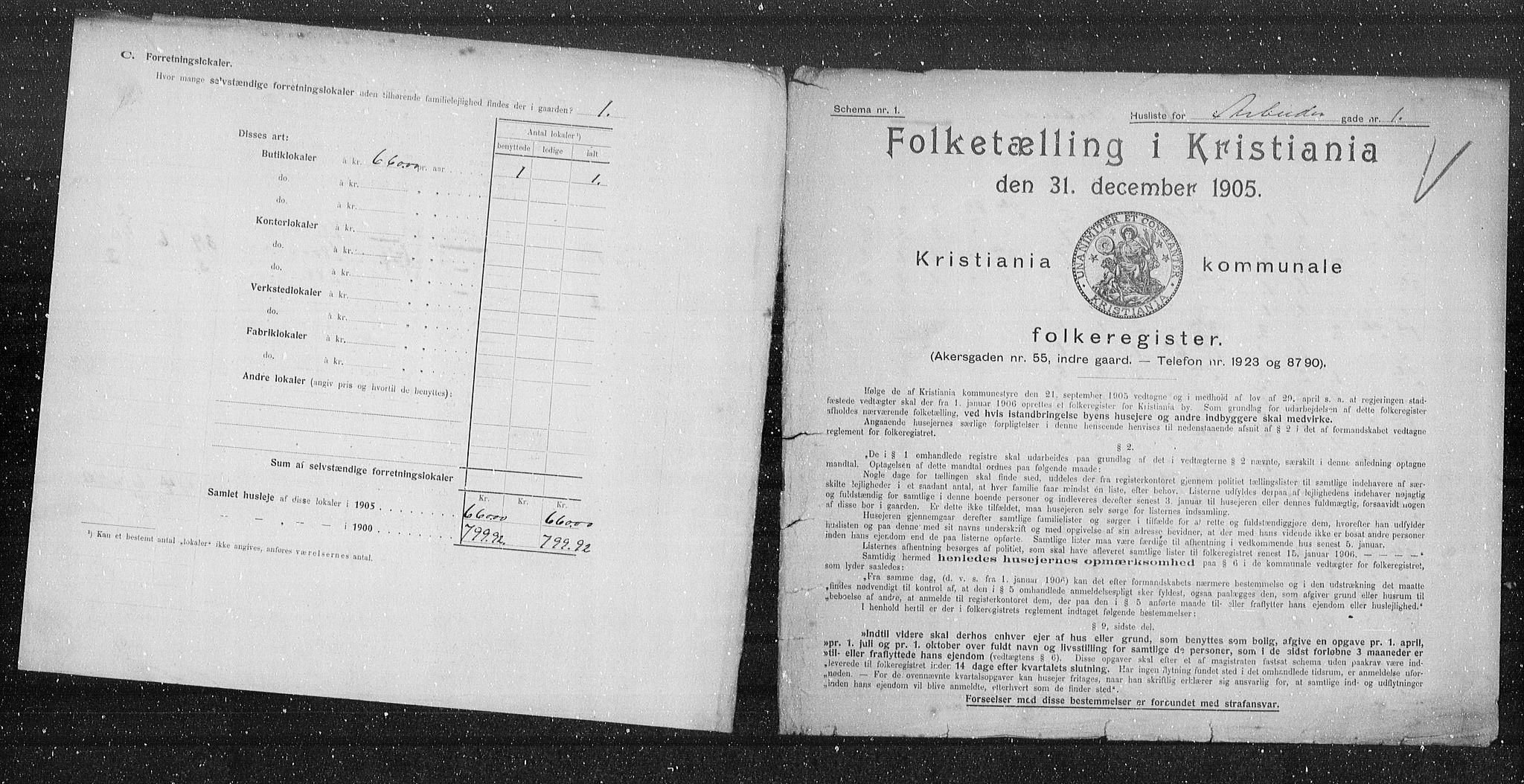 OBA, Kommunal folketelling 1905 for Kristiania kjøpstad, 1905, s. 764