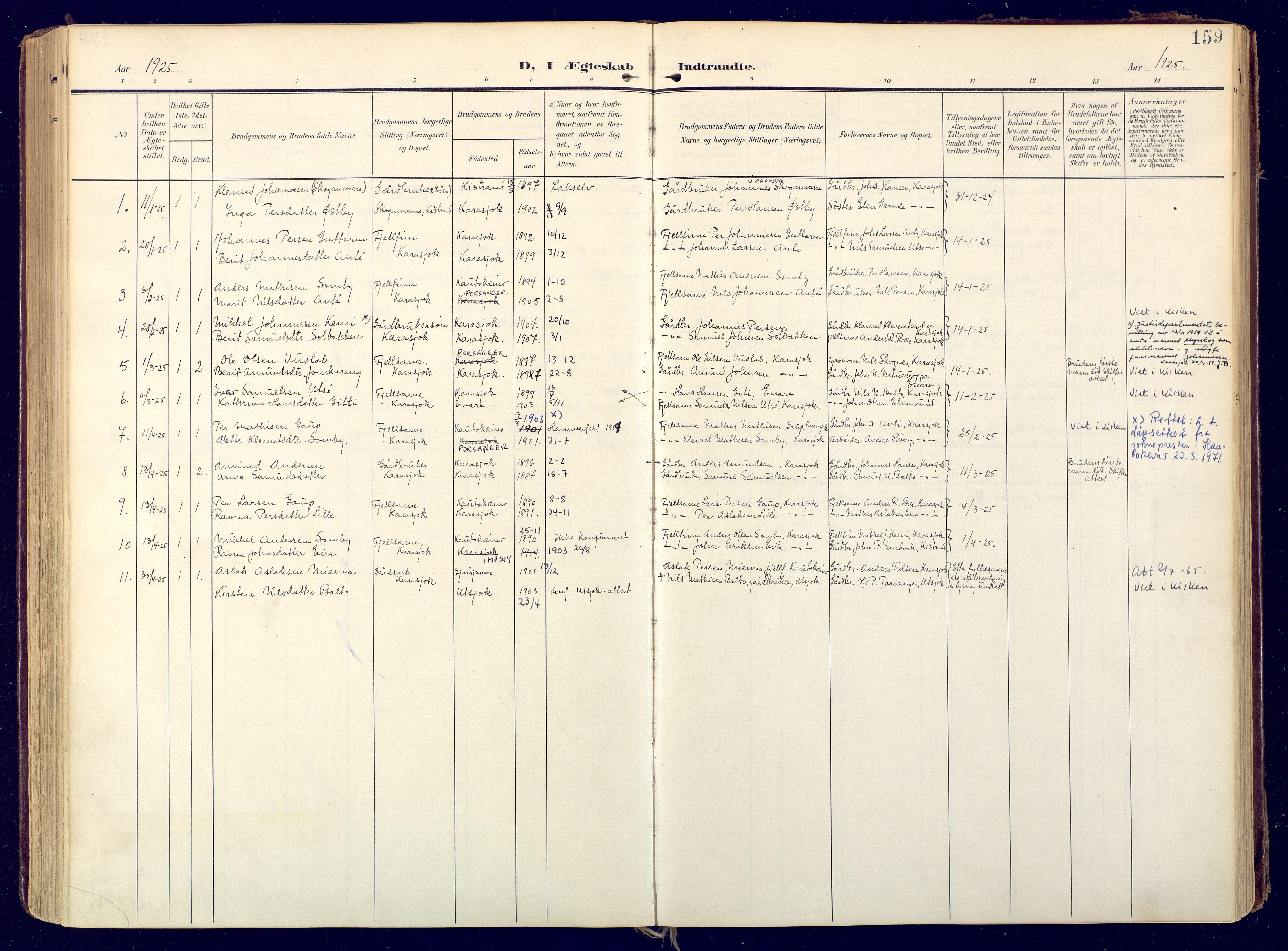 SATØ, Karasjok sokneprestkontor, H/Ha: Ministerialbok nr. 3, 1907-1926, s. 159