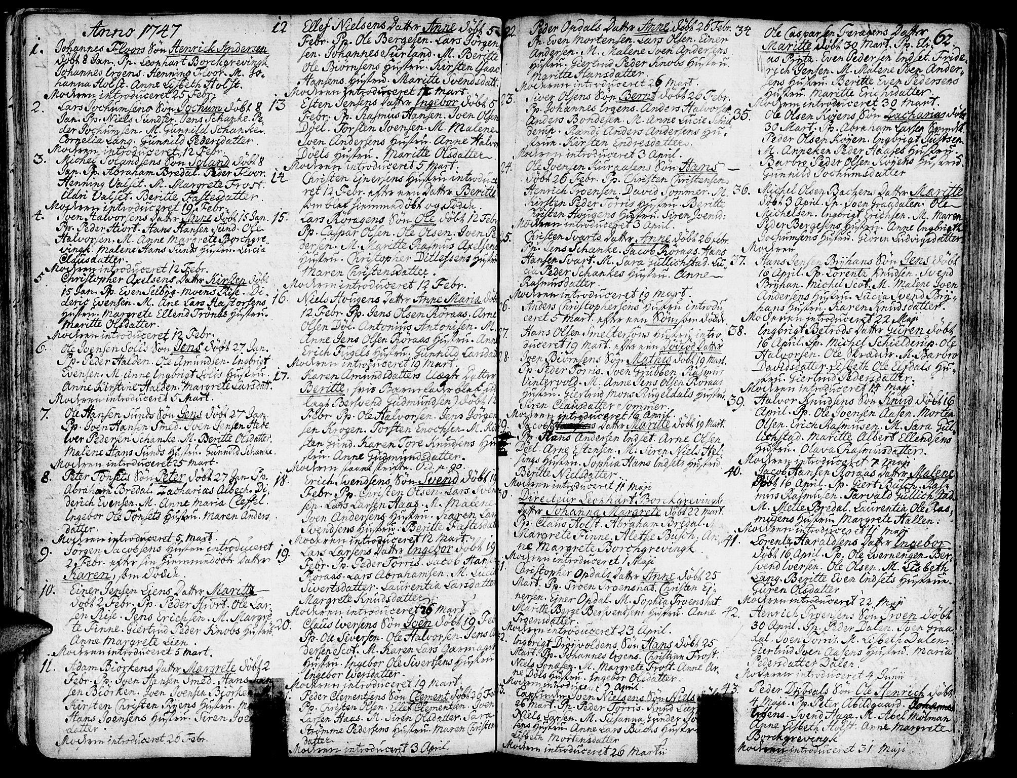 SAT, Ministerialprotokoller, klokkerbøker og fødselsregistre - Sør-Trøndelag, 681/L0925: Ministerialbok nr. 681A03, 1727-1766, s. 62
