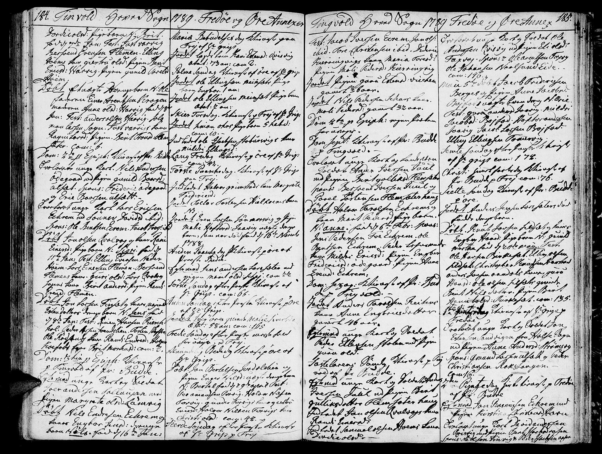 SAT, Ministerialprotokoller, klokkerbøker og fødselsregistre - Møre og Romsdal, 586/L0980: Ministerialbok nr. 586A06, 1776-1794, s. 184-185